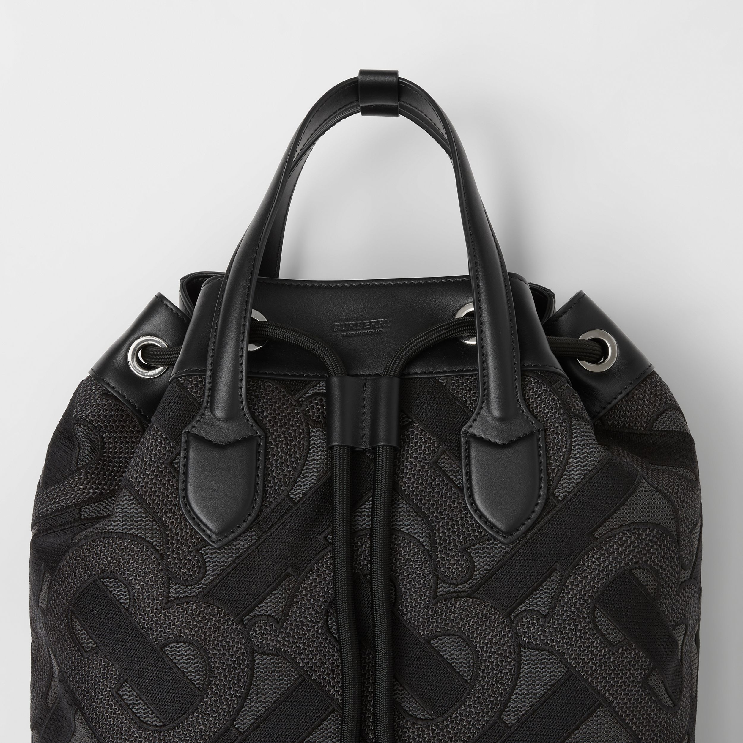 Monogram Cotton Drawcord Backpack in Charcoal Grey | Burberry - 2