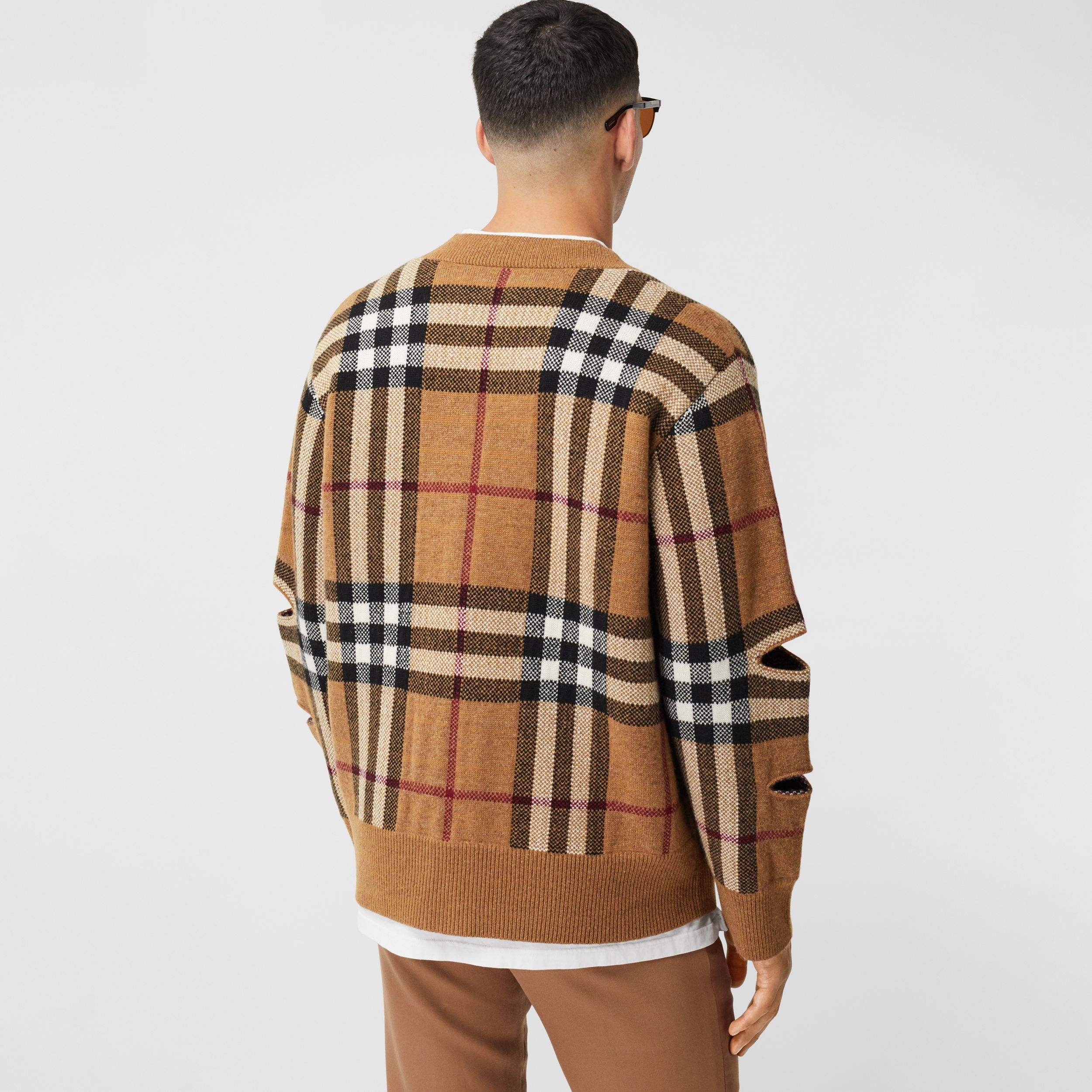 Cut-out Sleeve Check Wool Cashmere Cardigan in Birch Brown | Burberry - 3