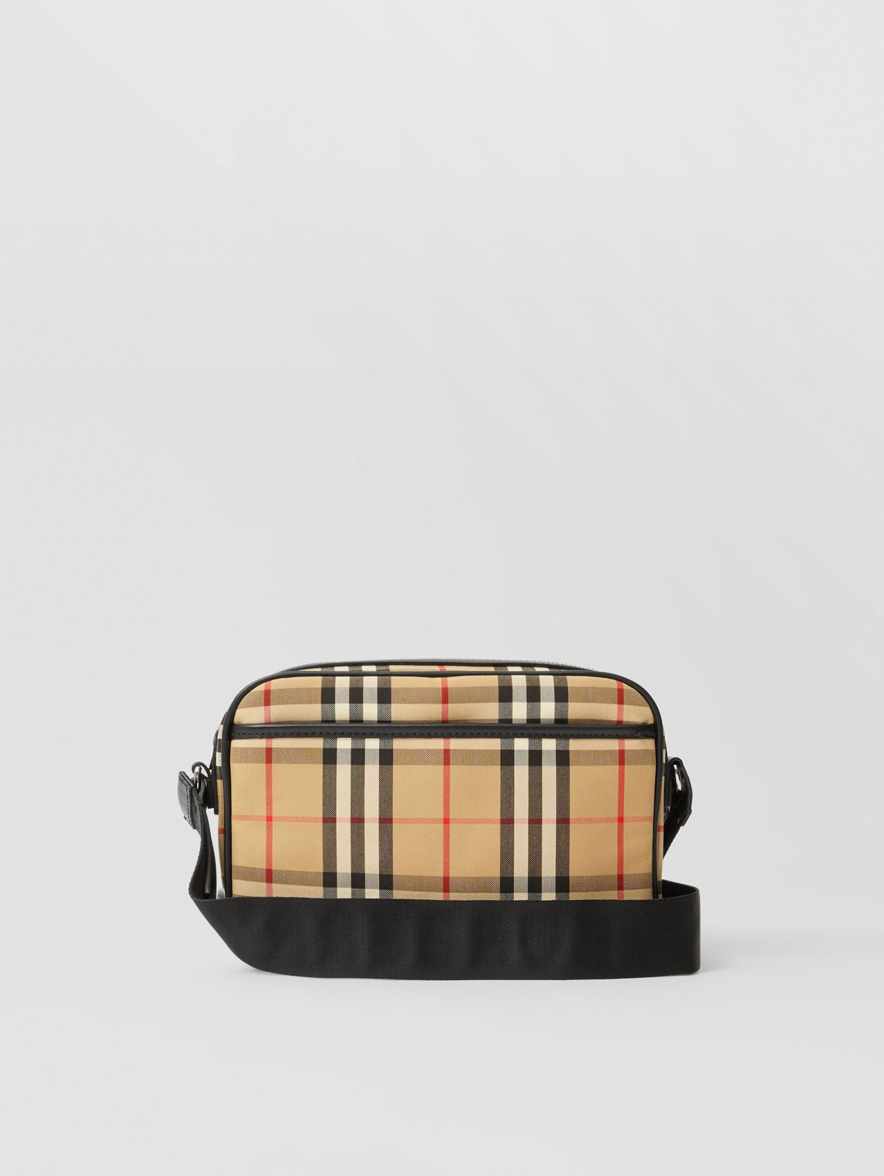 Vintage Check and Leather Crossbody Bag in Archive Beige