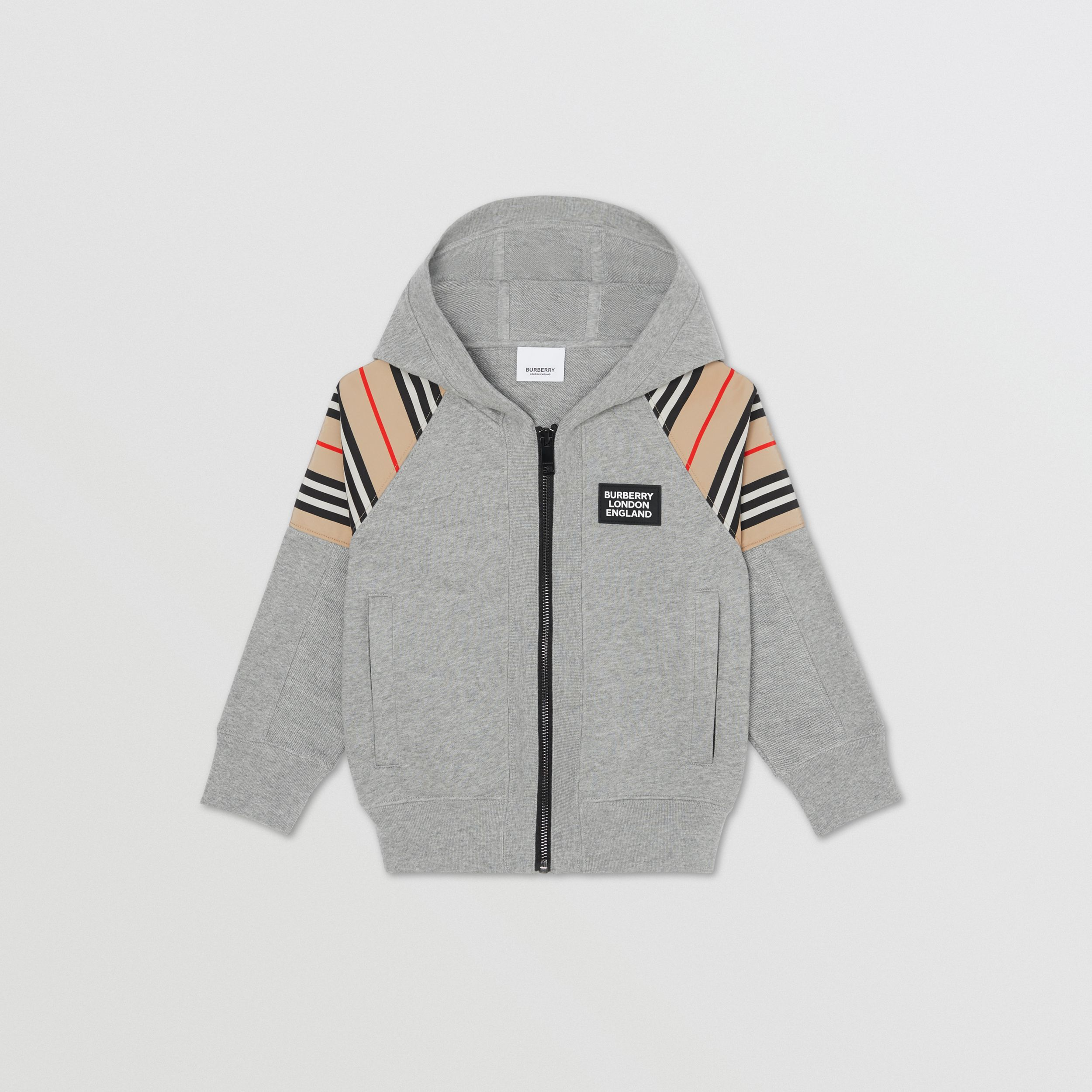 Icon Stripe Panel Cotton Hooded Top in Grey Melange | Burberry - 1
