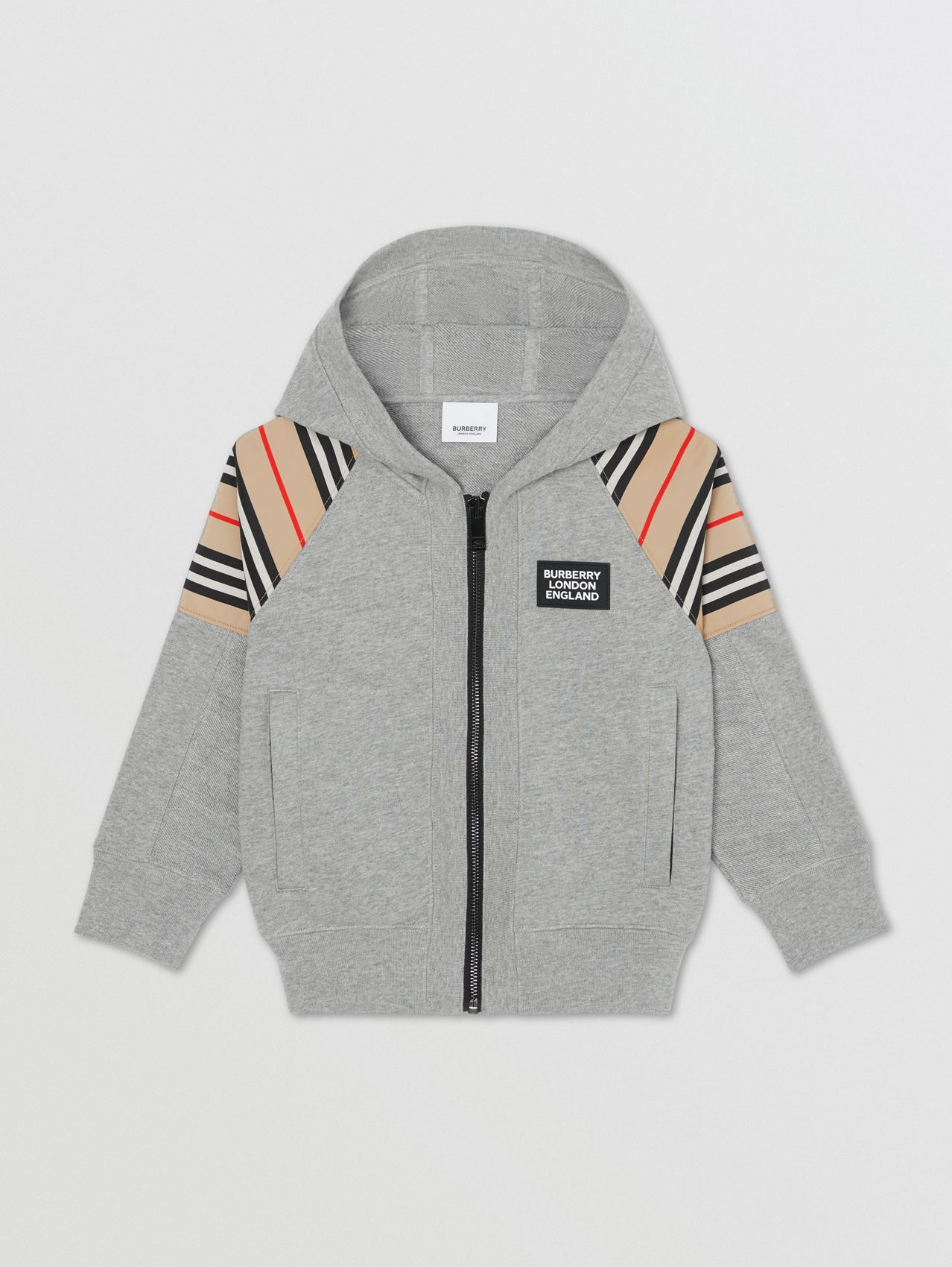 Icon Stripe Panel Cotton Hooded Top in Grey Melange