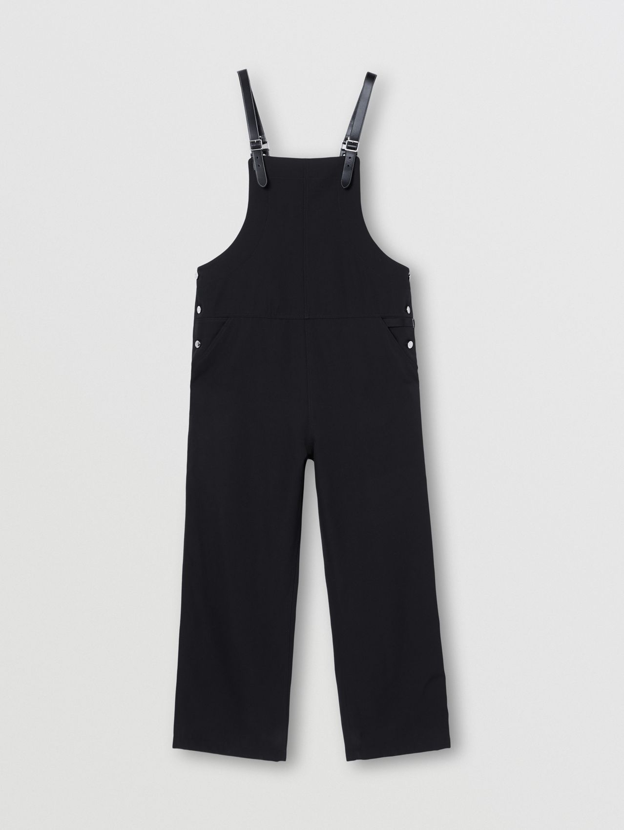 Mohair Wool Bib-front Trousers in Black