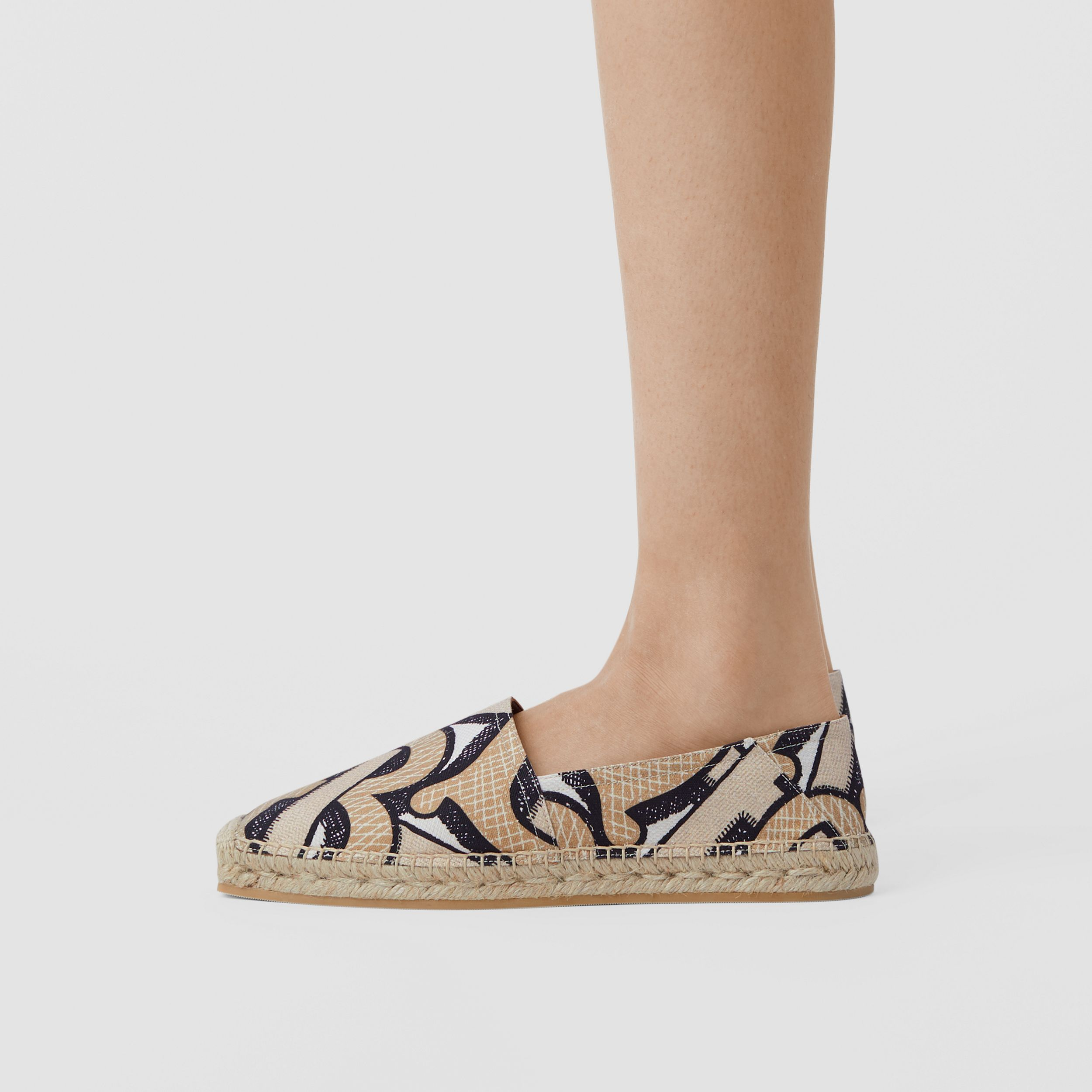 Monogram Print Cotton Canvas Espadrilles in Dark Beige - Women | Burberry Canada - 3
