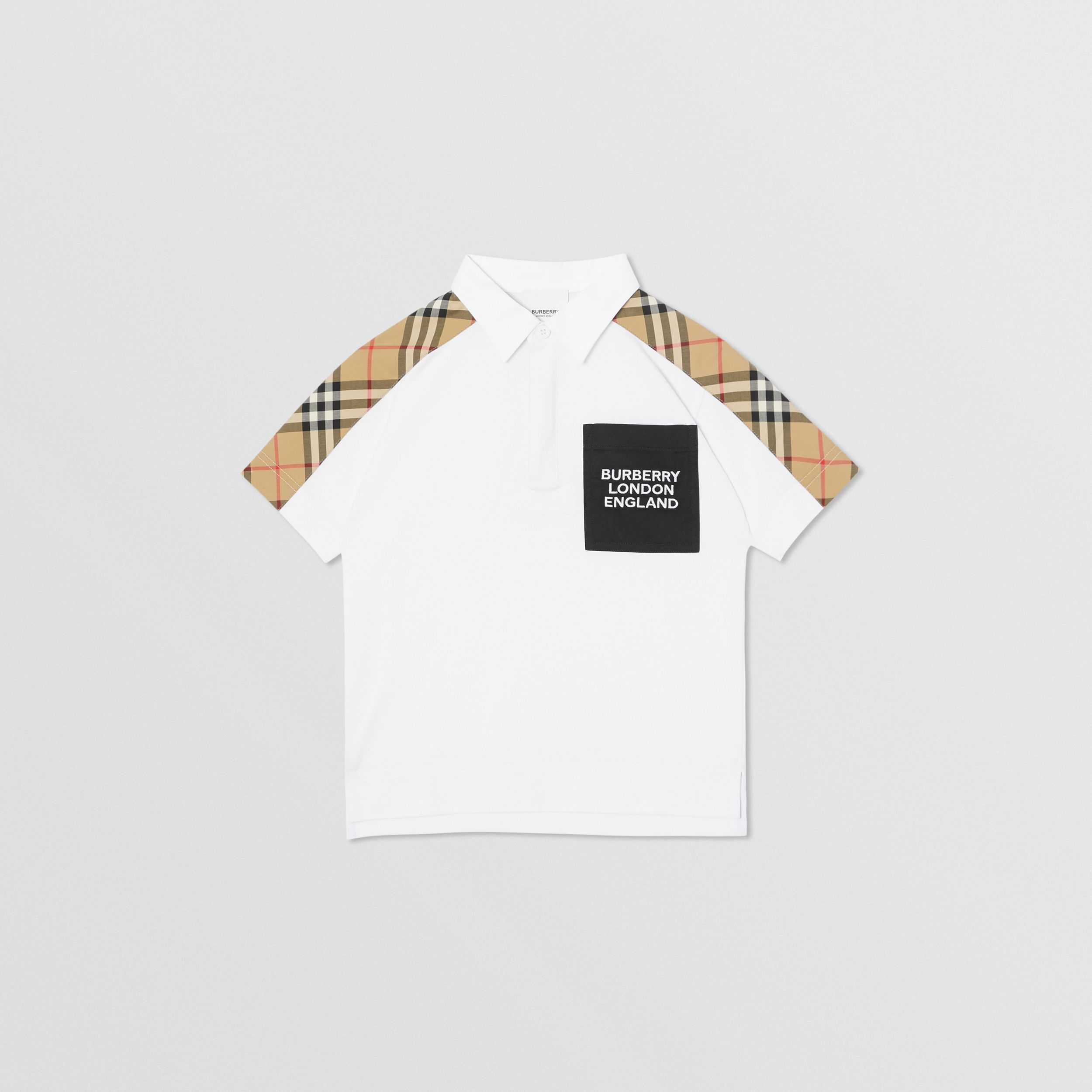 Vintage Check Panel Cotton Piqué Polo Shirt in White | Burberry - 1