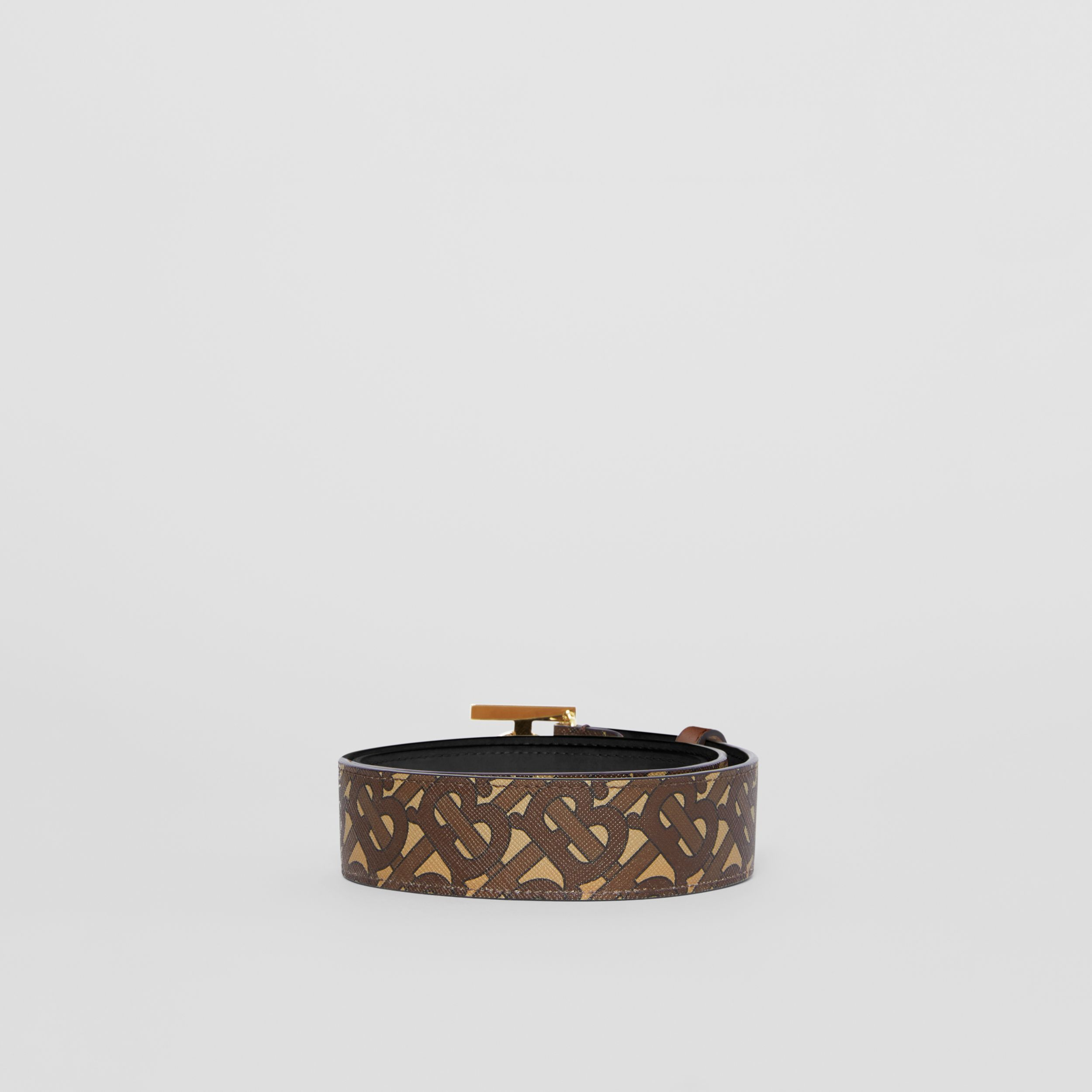Monogram Stripe E-canvas and Leather Belt in Bridle Brown - Women | Burberry United Kingdom - 4