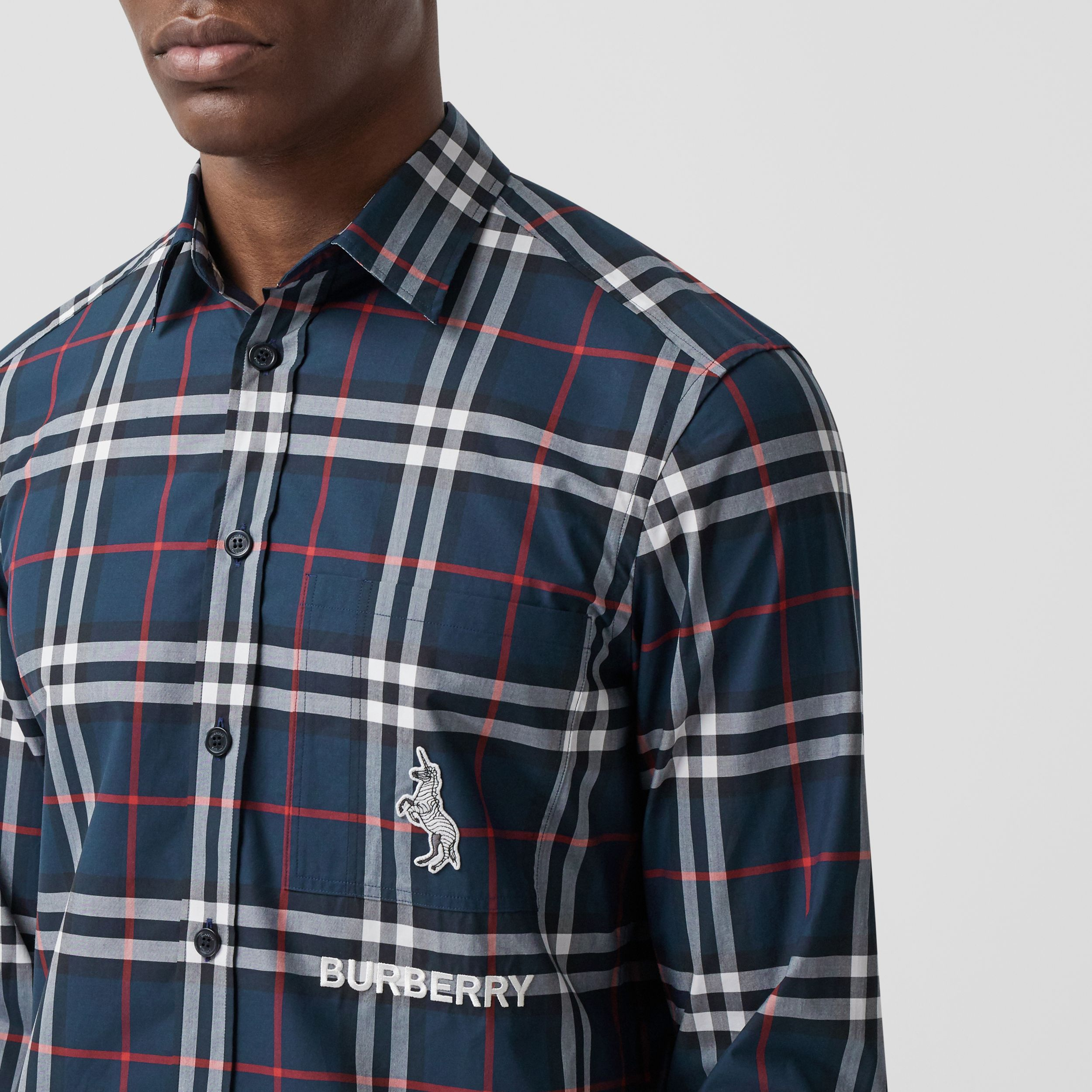 Classic Fit Swan Motif Check Cotton Shirt in Navy - Men | Burberry Australia - 2