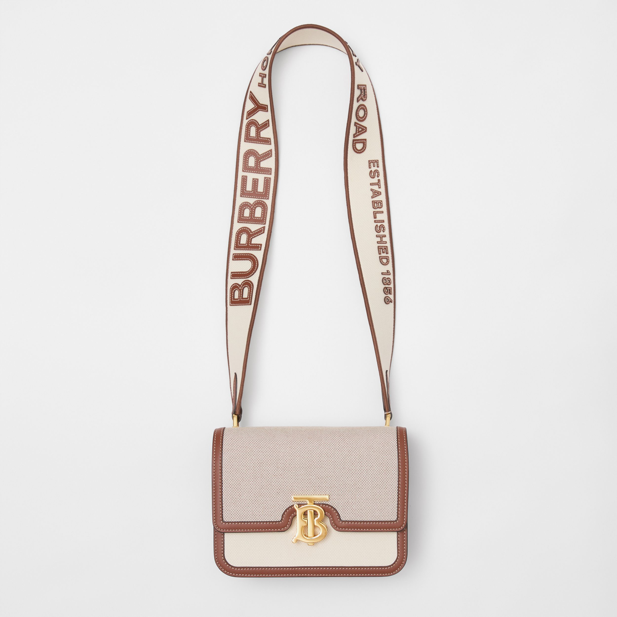 Small Cotton Canvas and Leather TB Bag in Soft Fawn/ecru - Women | Burberry Singapore - 4