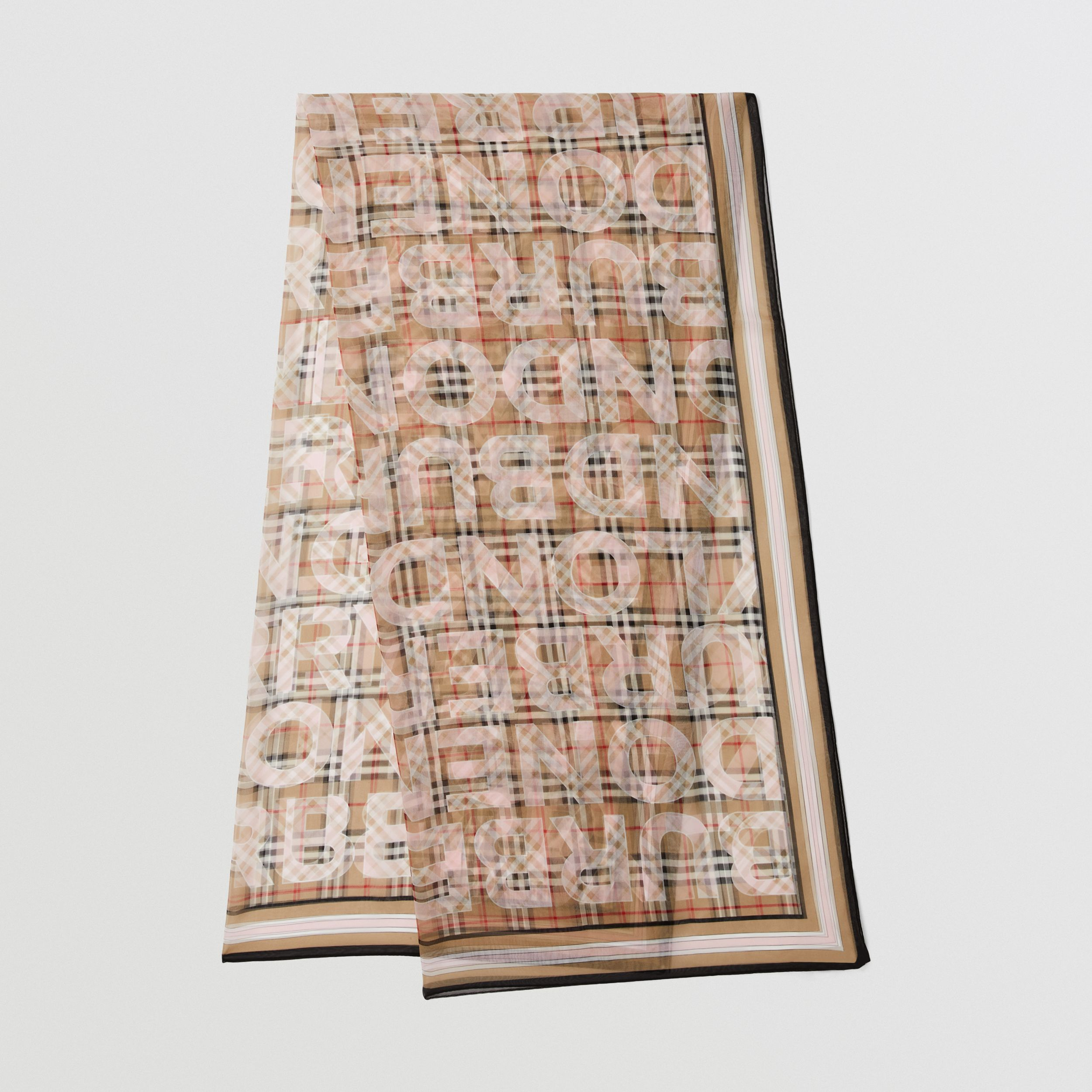 Vintage Check Logo Print Silk Chiffon Scarf in Alabaster Pink | Burberry United Kingdom - 1
