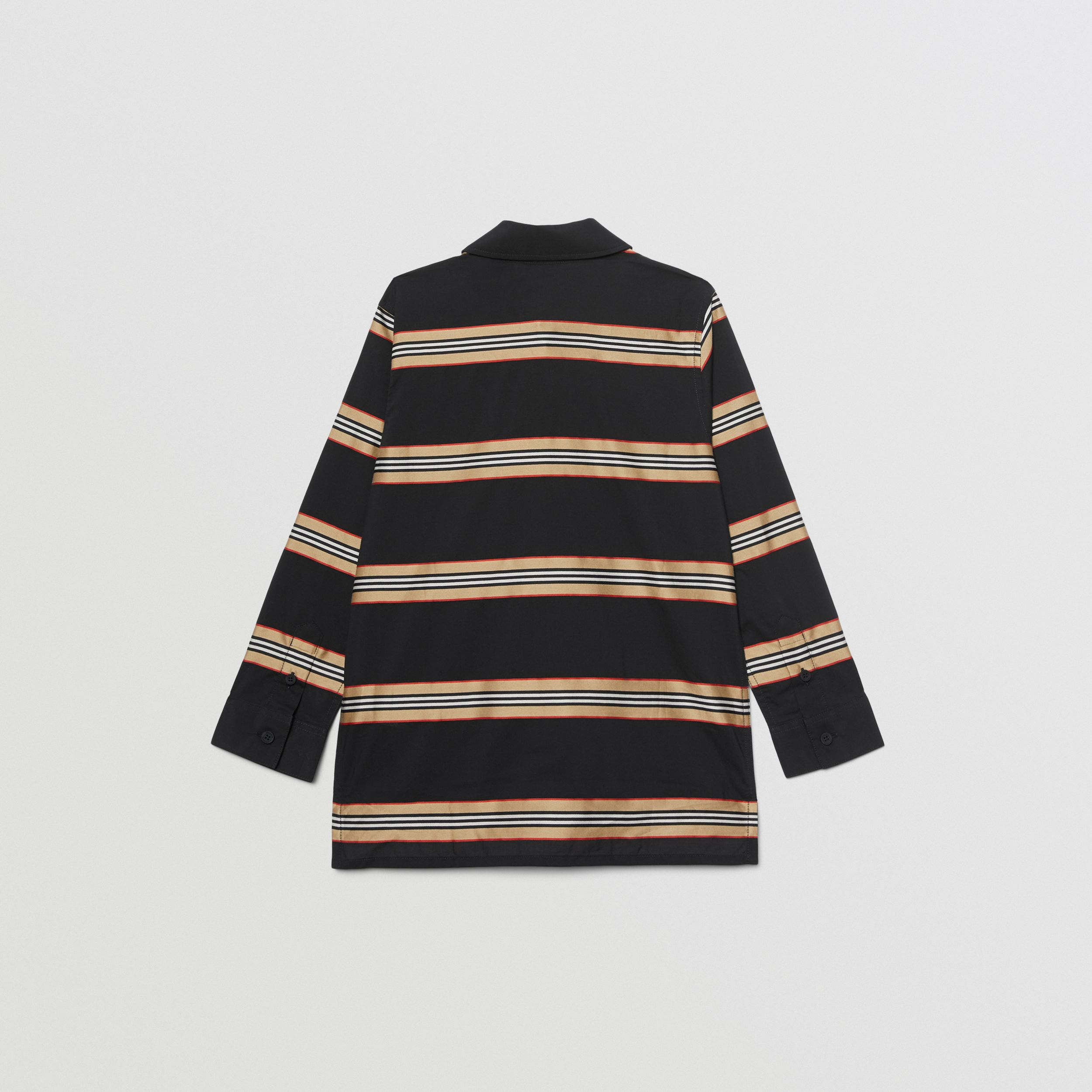 Embroidered Logo Icon Stripe Cotton Shirt in Black | Burberry - 4