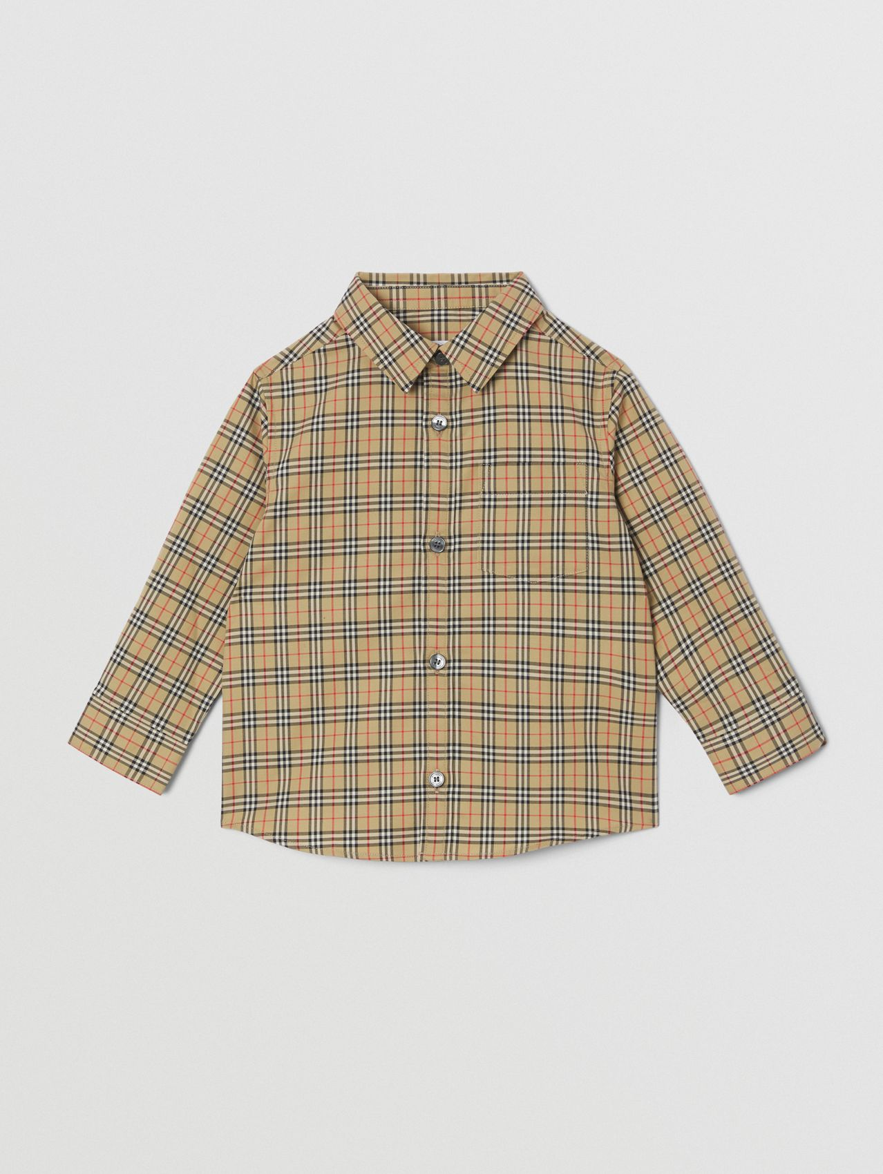 Check Stretch Cotton Shirt in Archive Beige