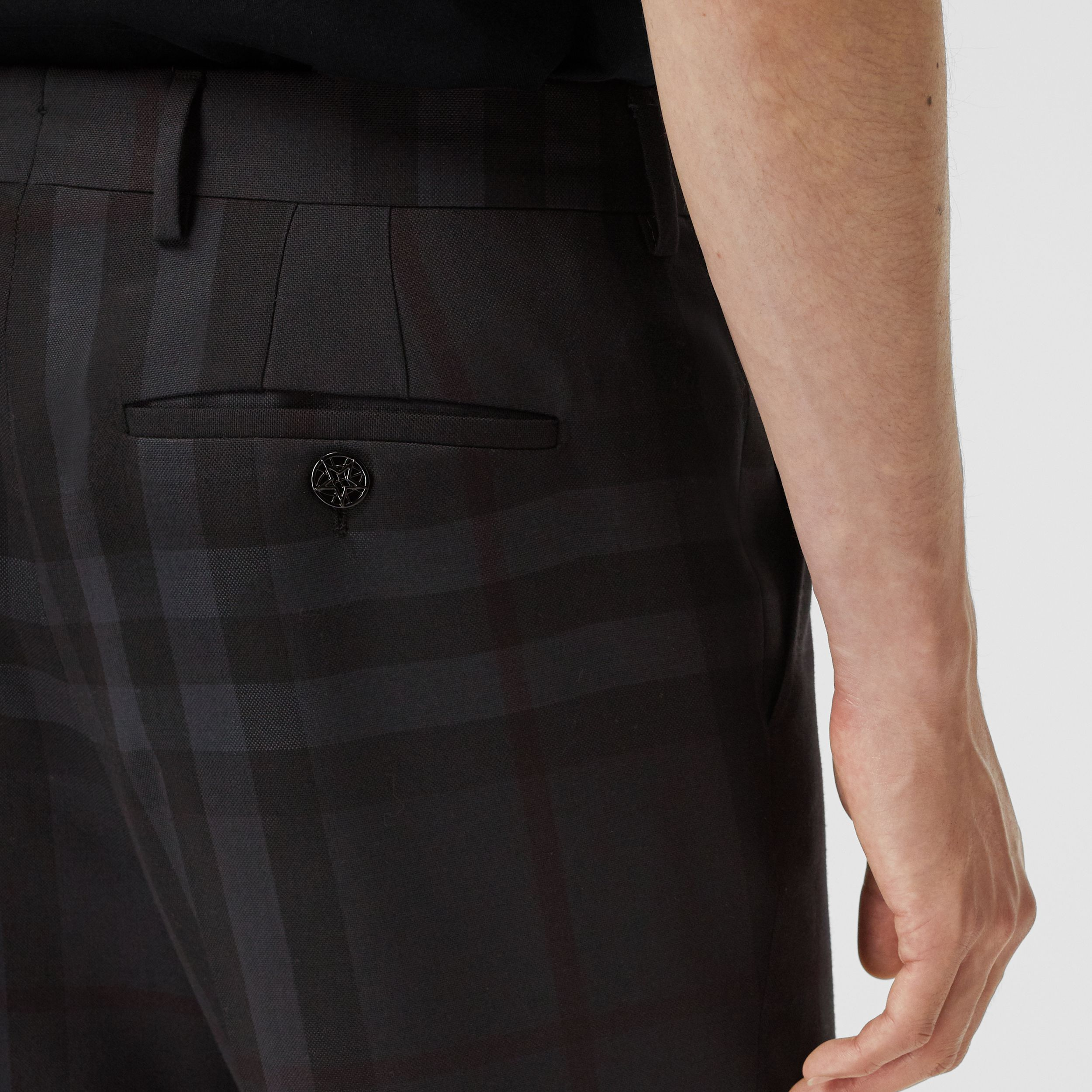 Classic Fit Check Wool Tailored Trousers in Charcoal - Men | Burberry Australia - 2