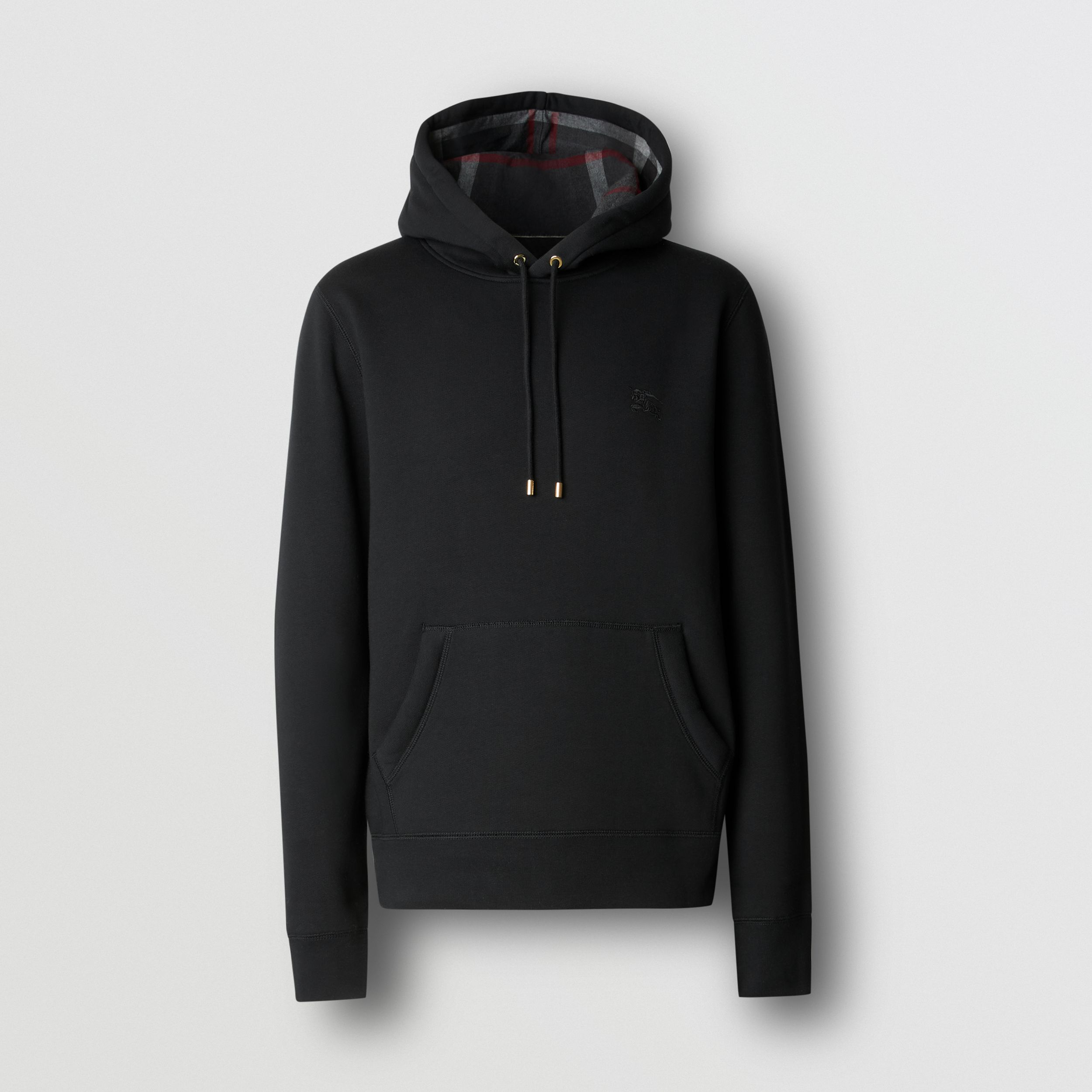 Embroidered EKD Cotton Blend Hoodie in Black - Men | Burberry - 1