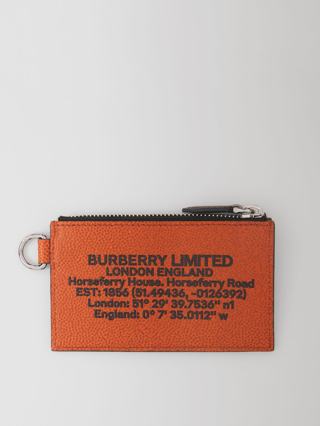 Location Print Leather Card Case Lanyard in Earthy Orange