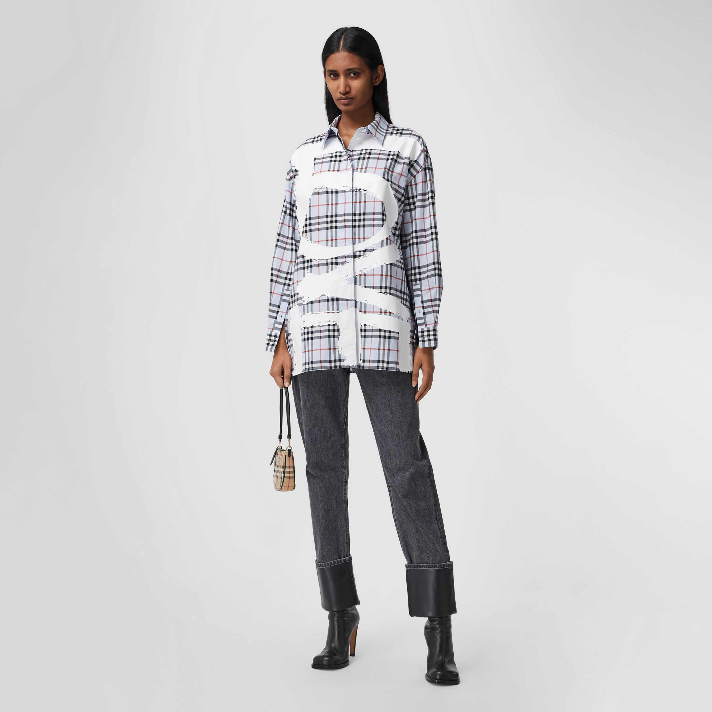Love Print Vintage Check Cotton Oversized Shirt – Online Exclusive in Pale Blue - Women | Burberry Australia - 1