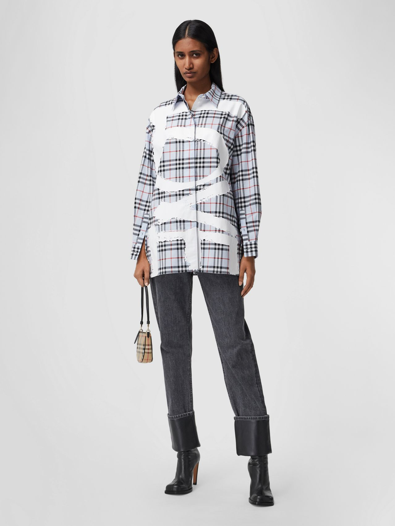 Love Print Vintage Check Cotton Oversized Shirt – Online Exclusive in Pale Blue