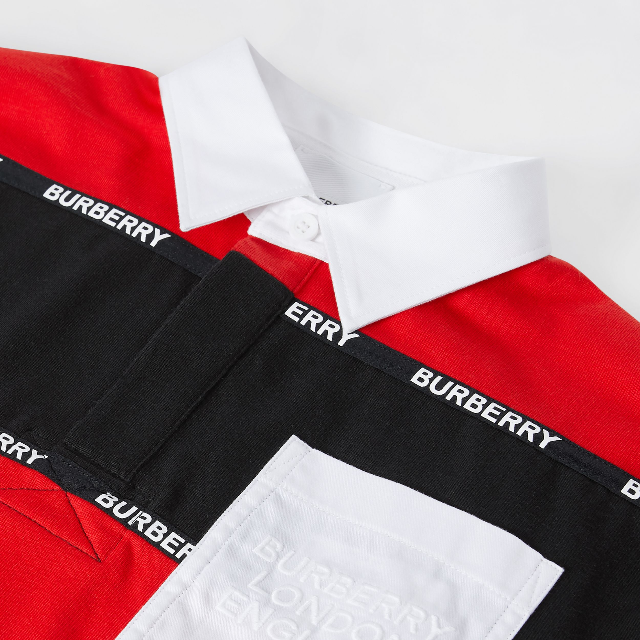 Long-sleeve Logo Tape Striped Cotton Polo Shirt in Bright Red | Burberry - 2