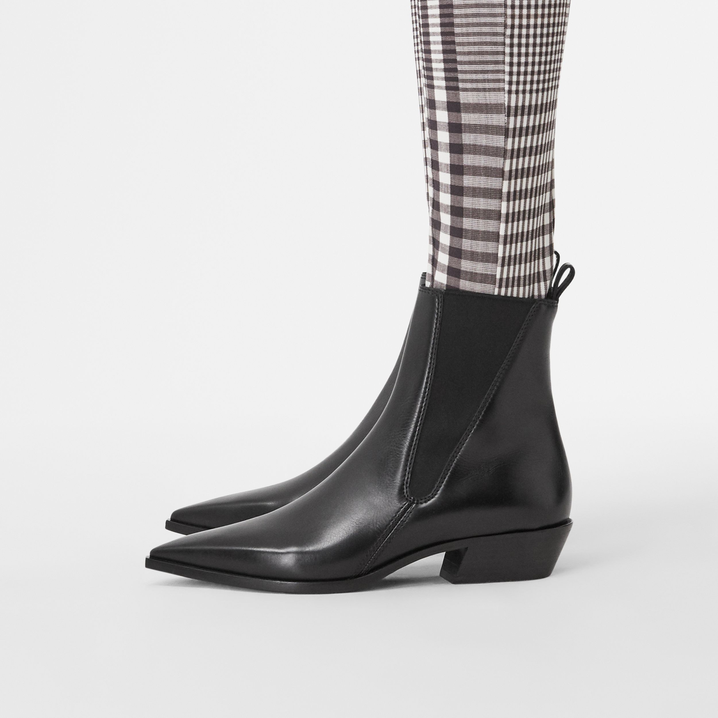 Leather Point-toe Chelsea Boots in Black - Women | Burberry United Kingdom - 3