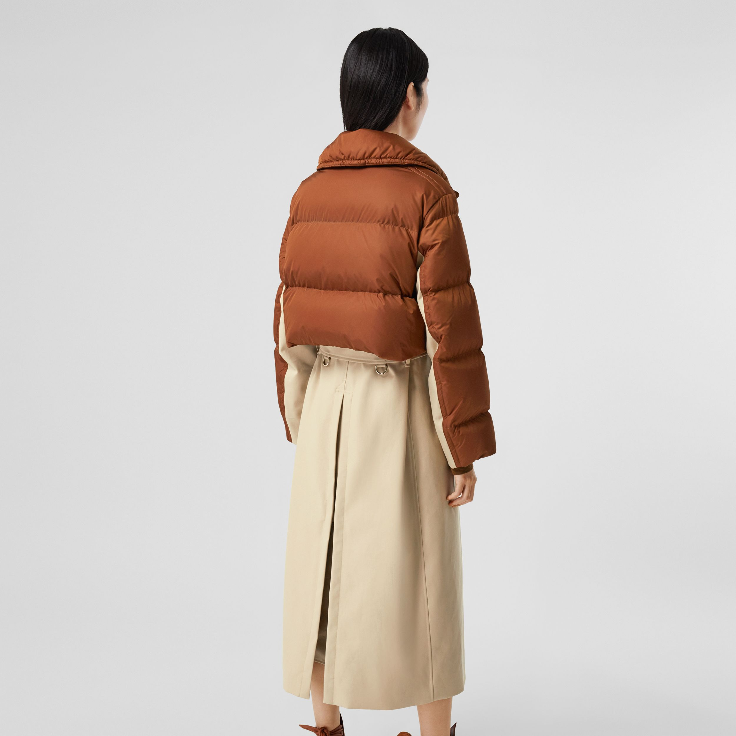 Puffer Jacket Detail Cotton Gabardine Trench Coat in Warm Brown - Women | Burberry Australia - 3