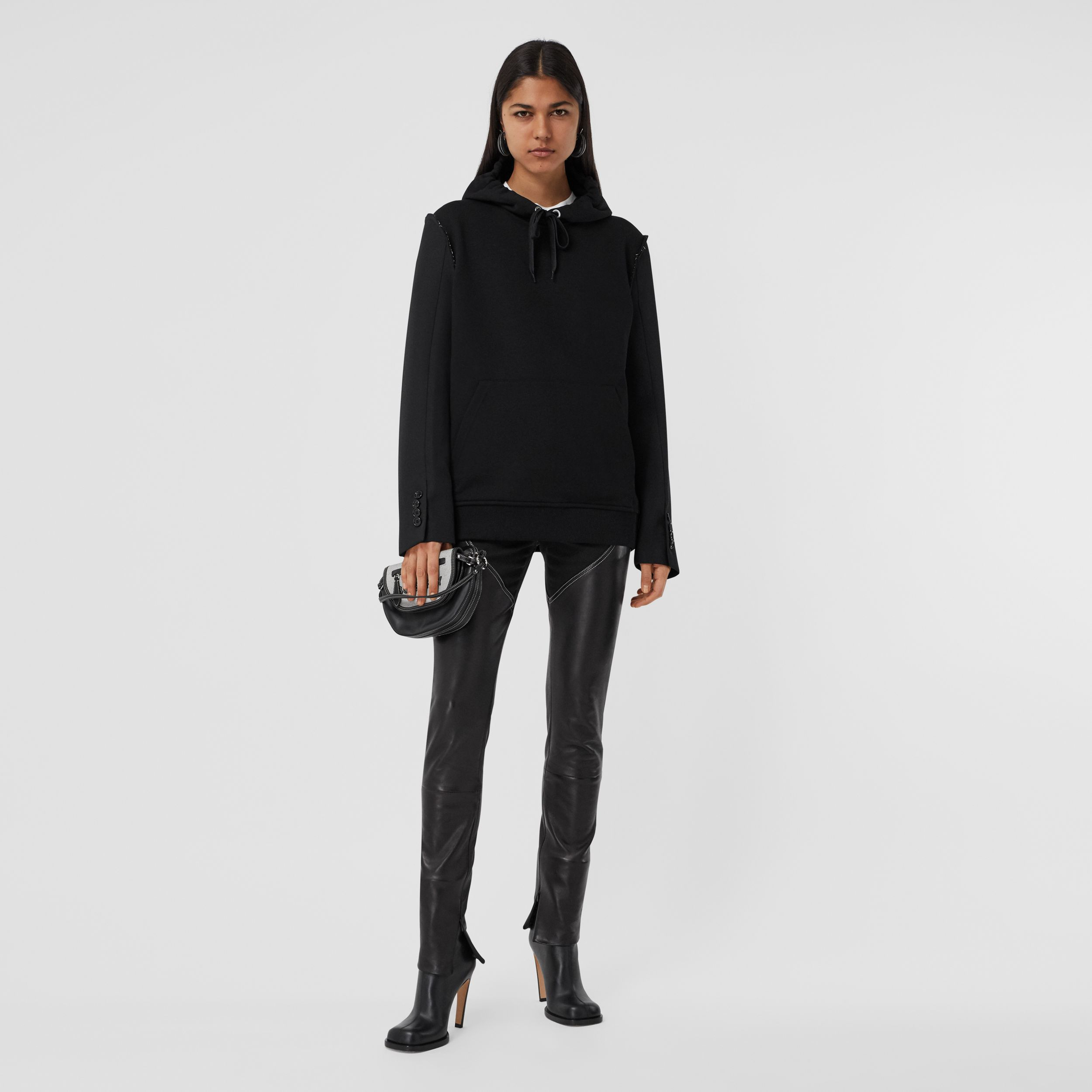 Cotton and Wool Reconstructed Oversized Hoodie in Black - Women | Burberry - 1