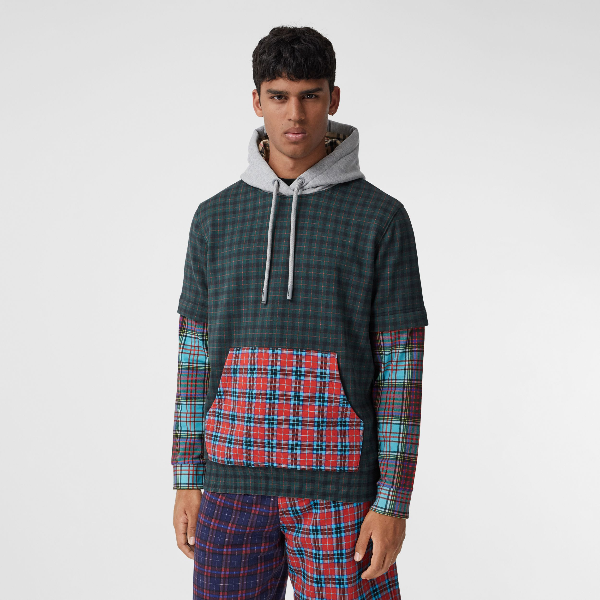 Patchwork Check Cotton Blend Hoodie - Men | Burberry - 1