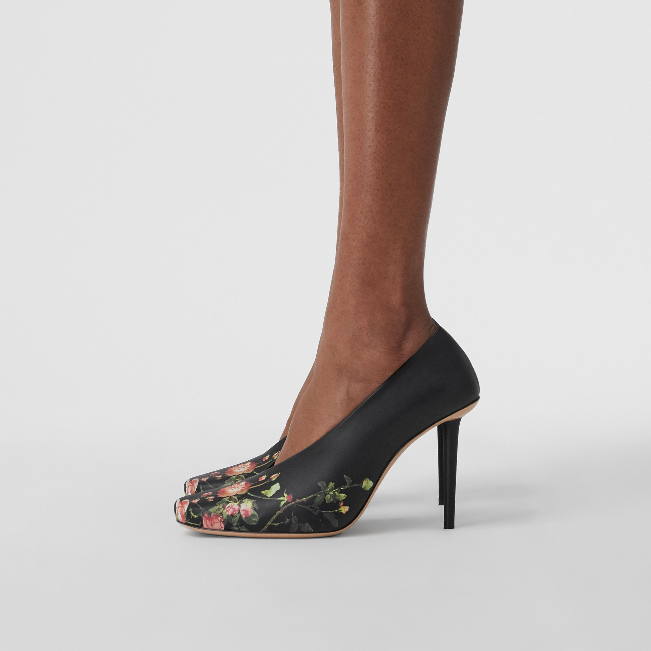 Rose Print Leather Sculptural Pumps in Floral - Women | Burberry - 3
