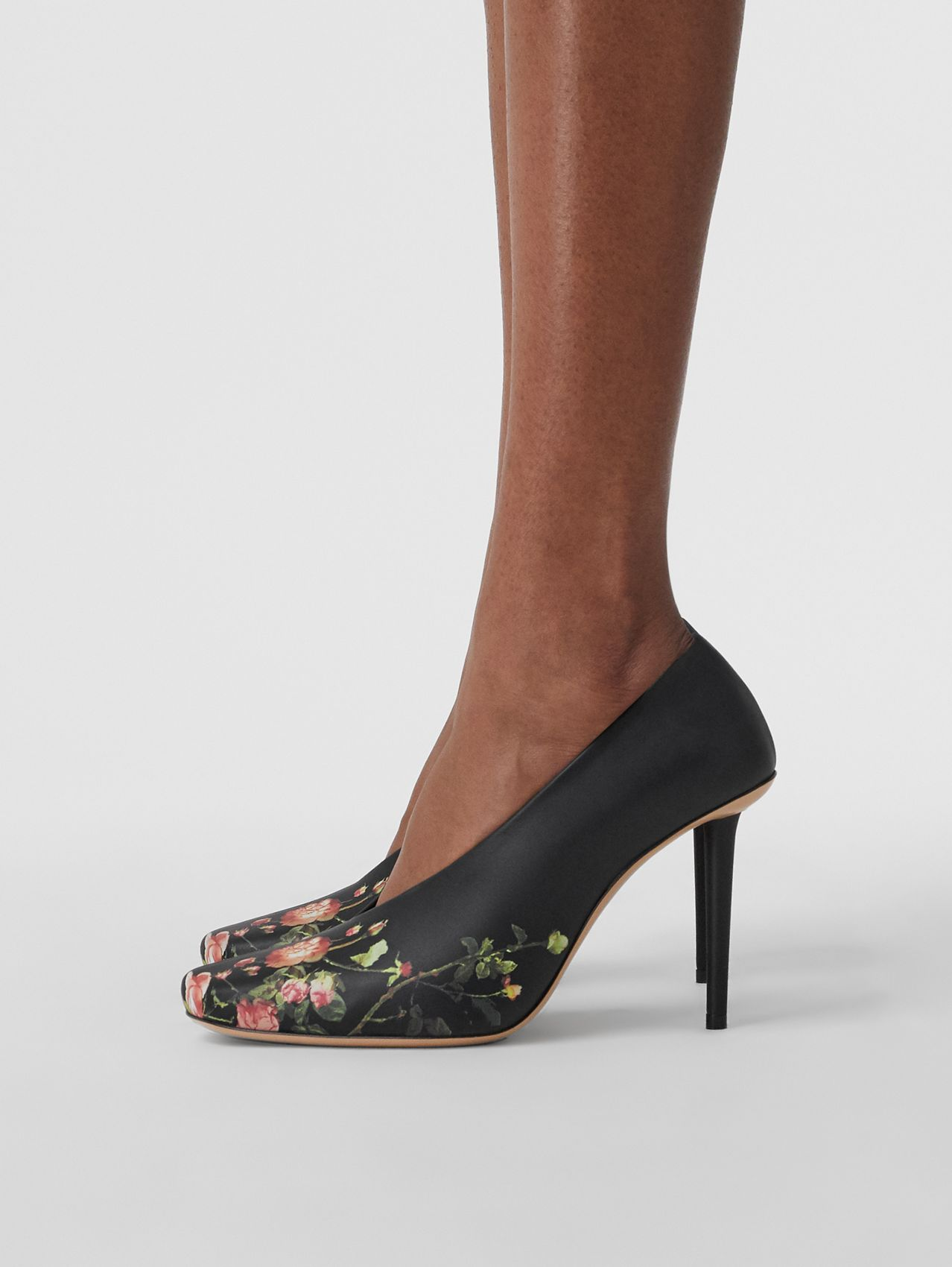 Rose Print Leather Sculptural Pumps in Floral
