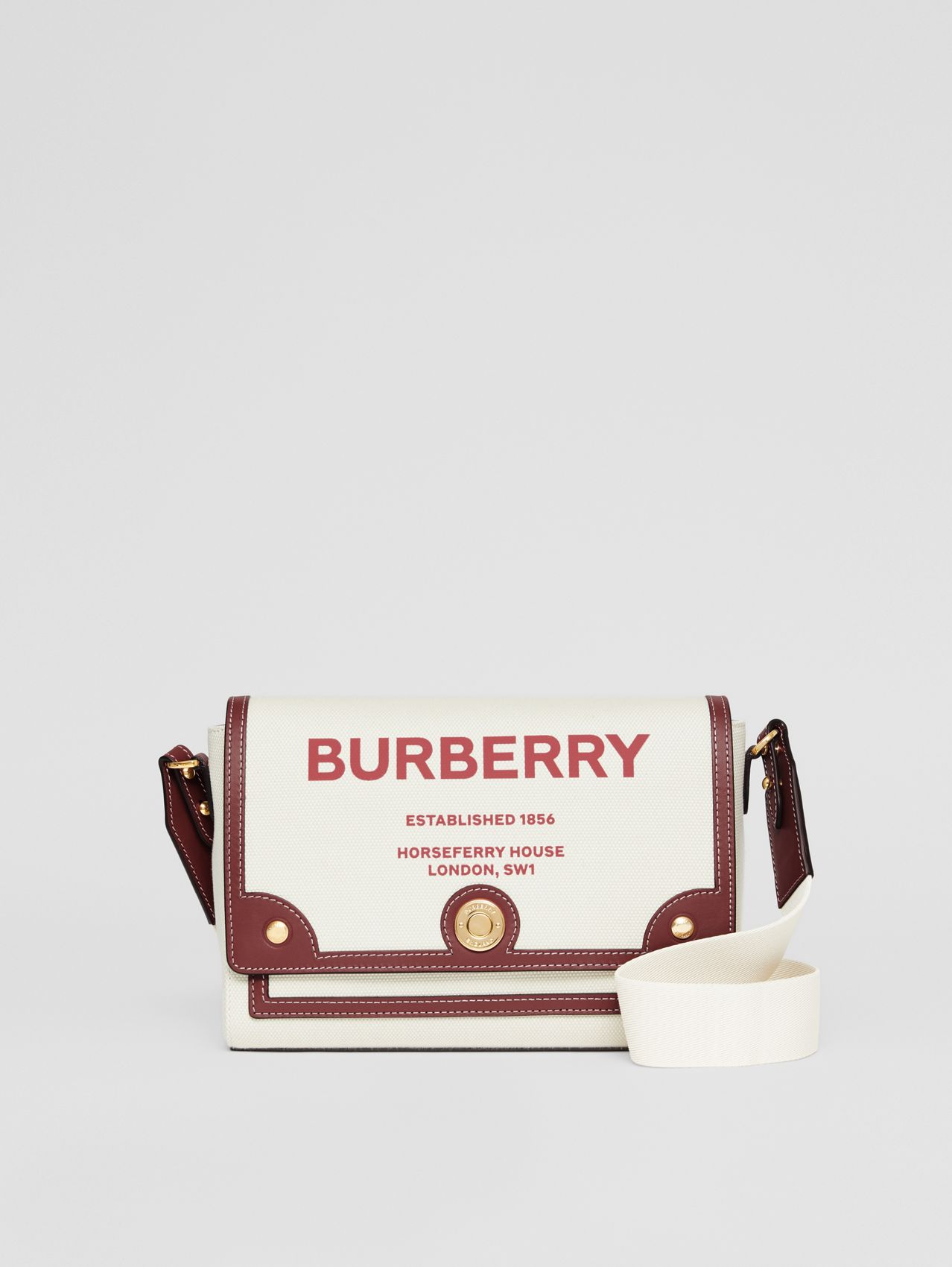 Horseferry Print Canvas Note Crossbody Bag in Natural/garnet