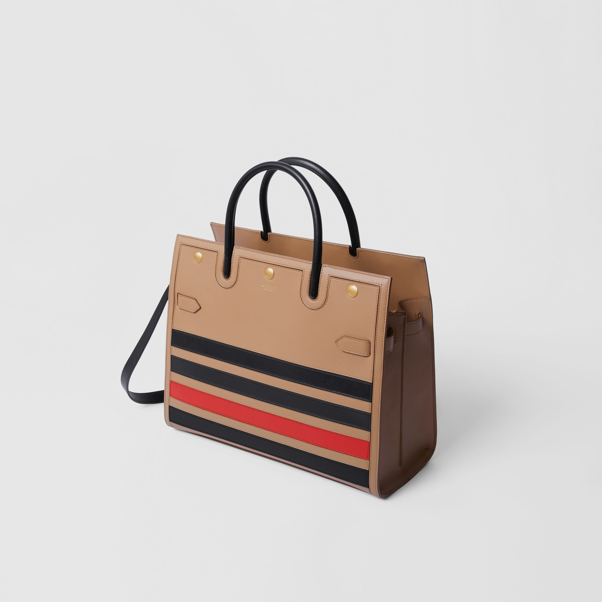 Medium Striped Intarsia Leather Two-handle Title Bag in Camel - Women | Burberry Australia - 4