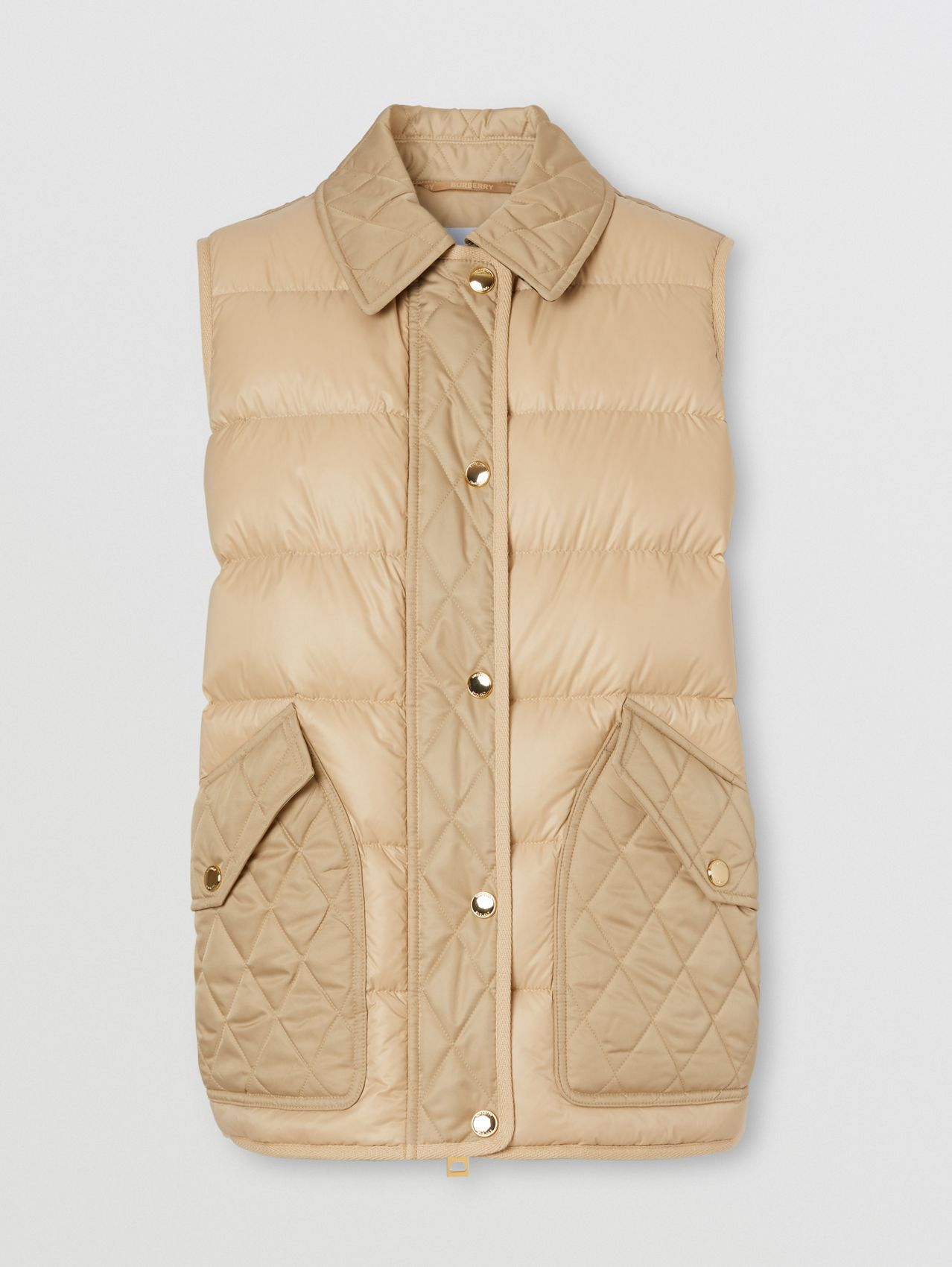 Diamond Quilted Panel Puffer Gilet in Soft Fawn