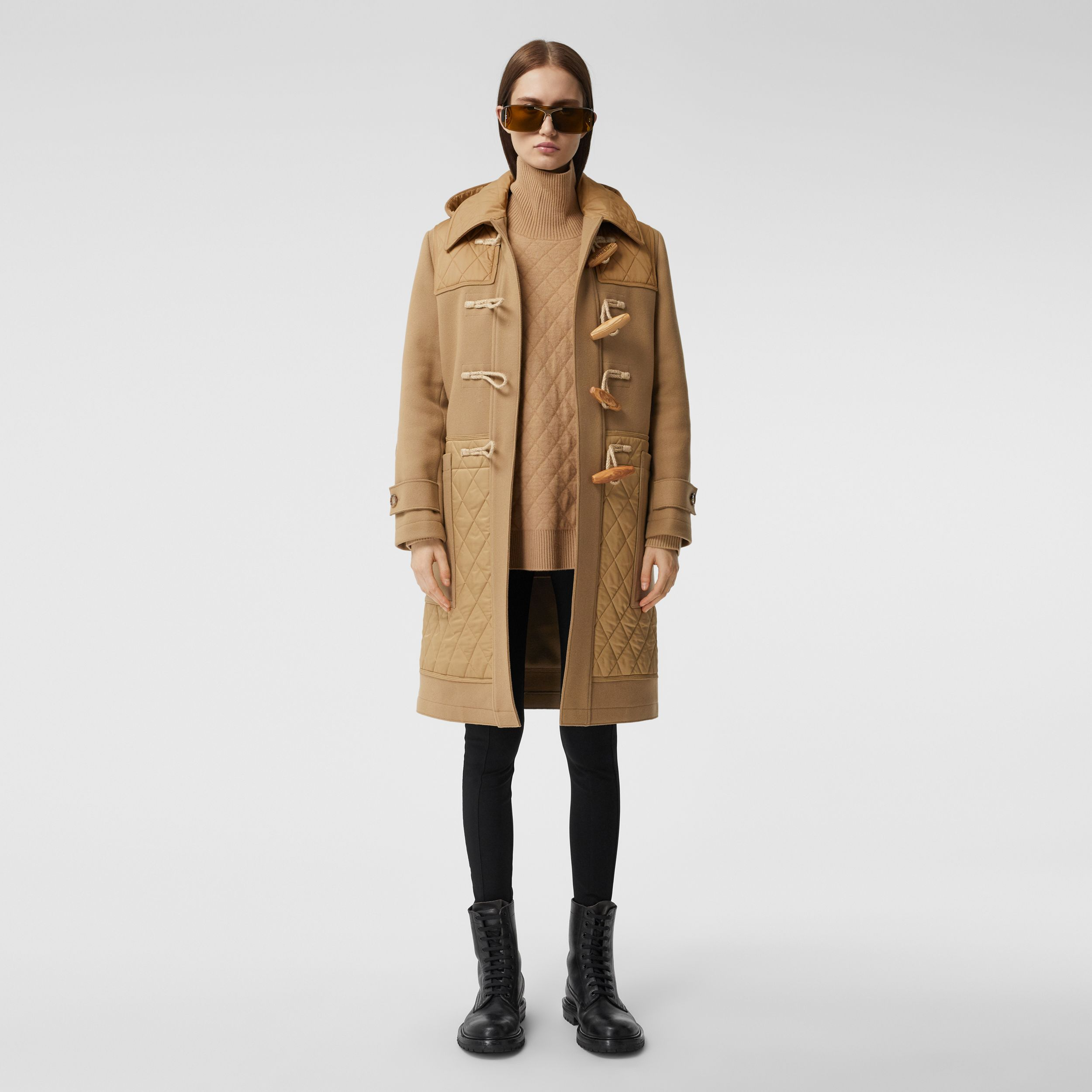 Diamond Quilted Panel Technical Wool Duffle Coat in Camel - Women | Burberry - 1