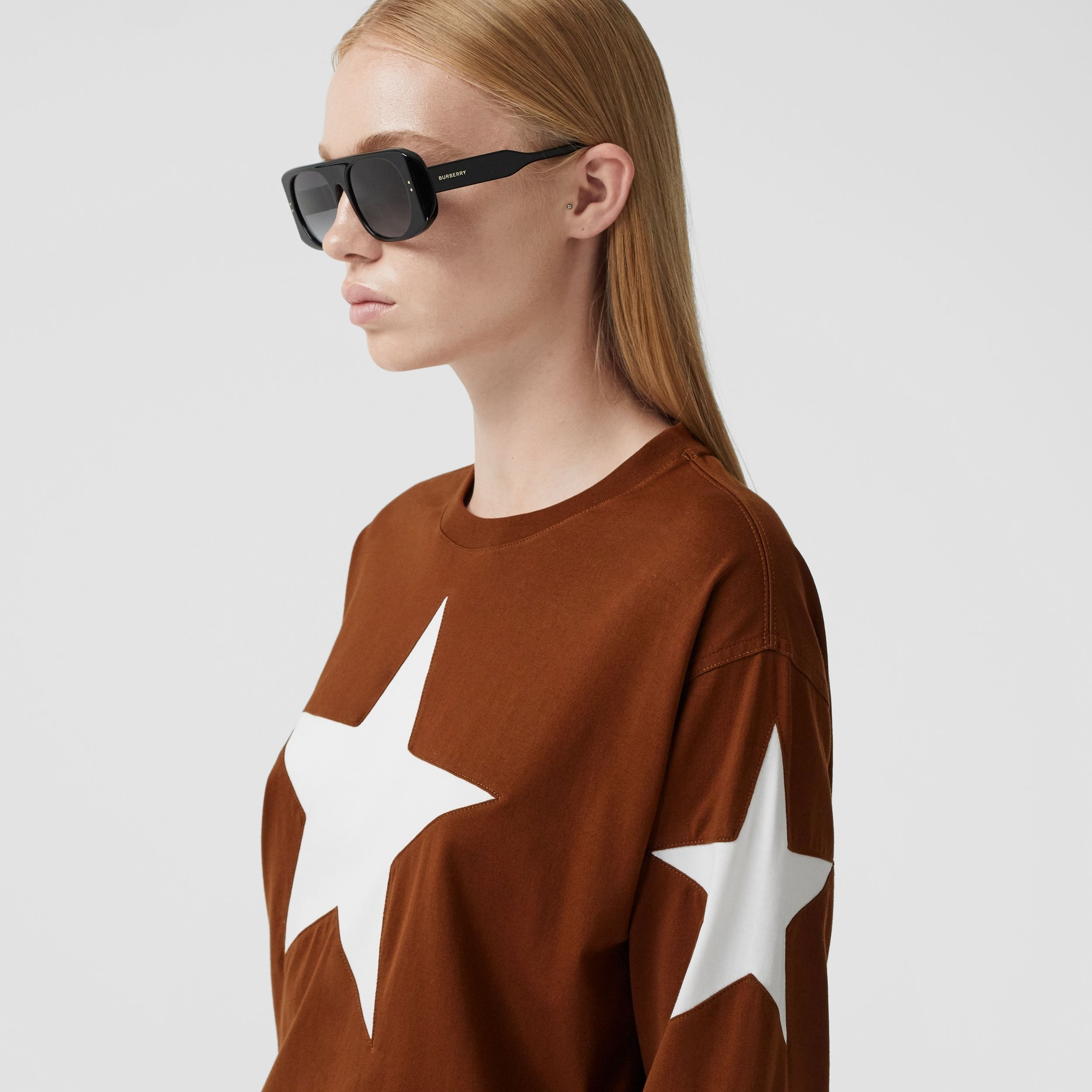 Long-sleeve Star Motif Cotton Oversized Top in Mahogany - Women | Burberry - 2