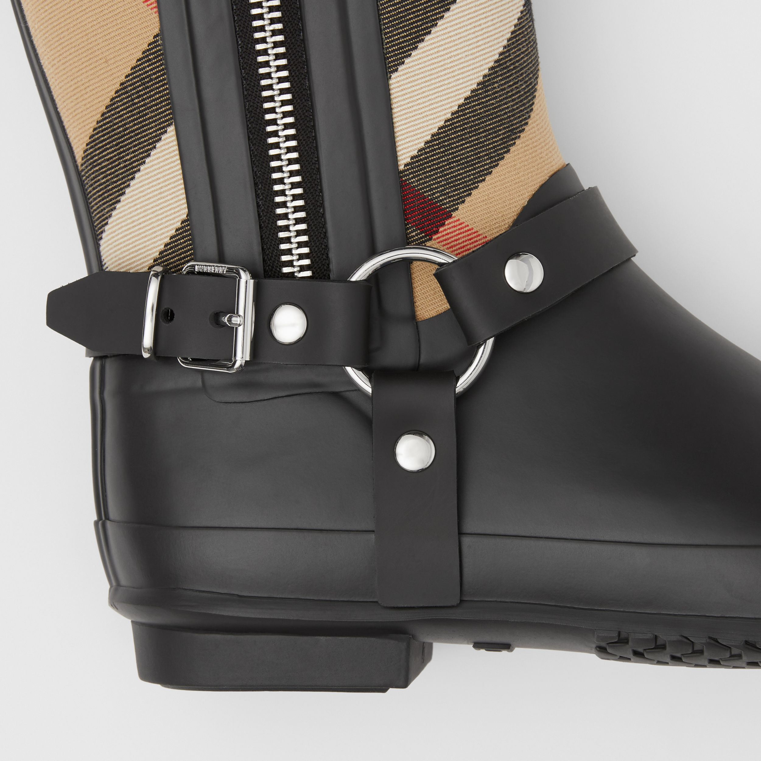 Strap Detail House Check Rubber Rain Boots in Black/archive Beige - Women | Burberry - 2
