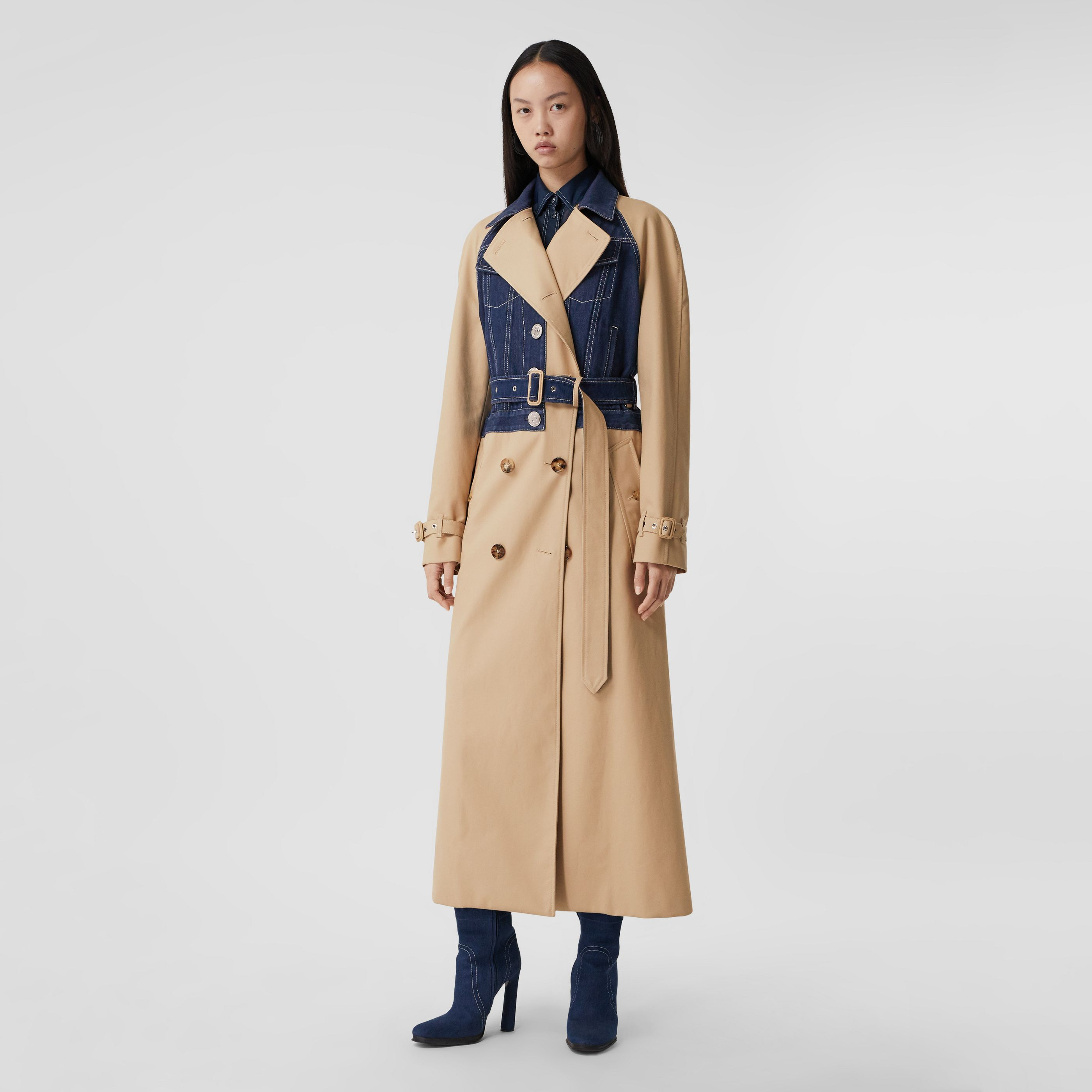 Trench coat in gabardine di cotone con decorazione a pannelli (Fulvo Tenue) - Donna | Burberry - 8