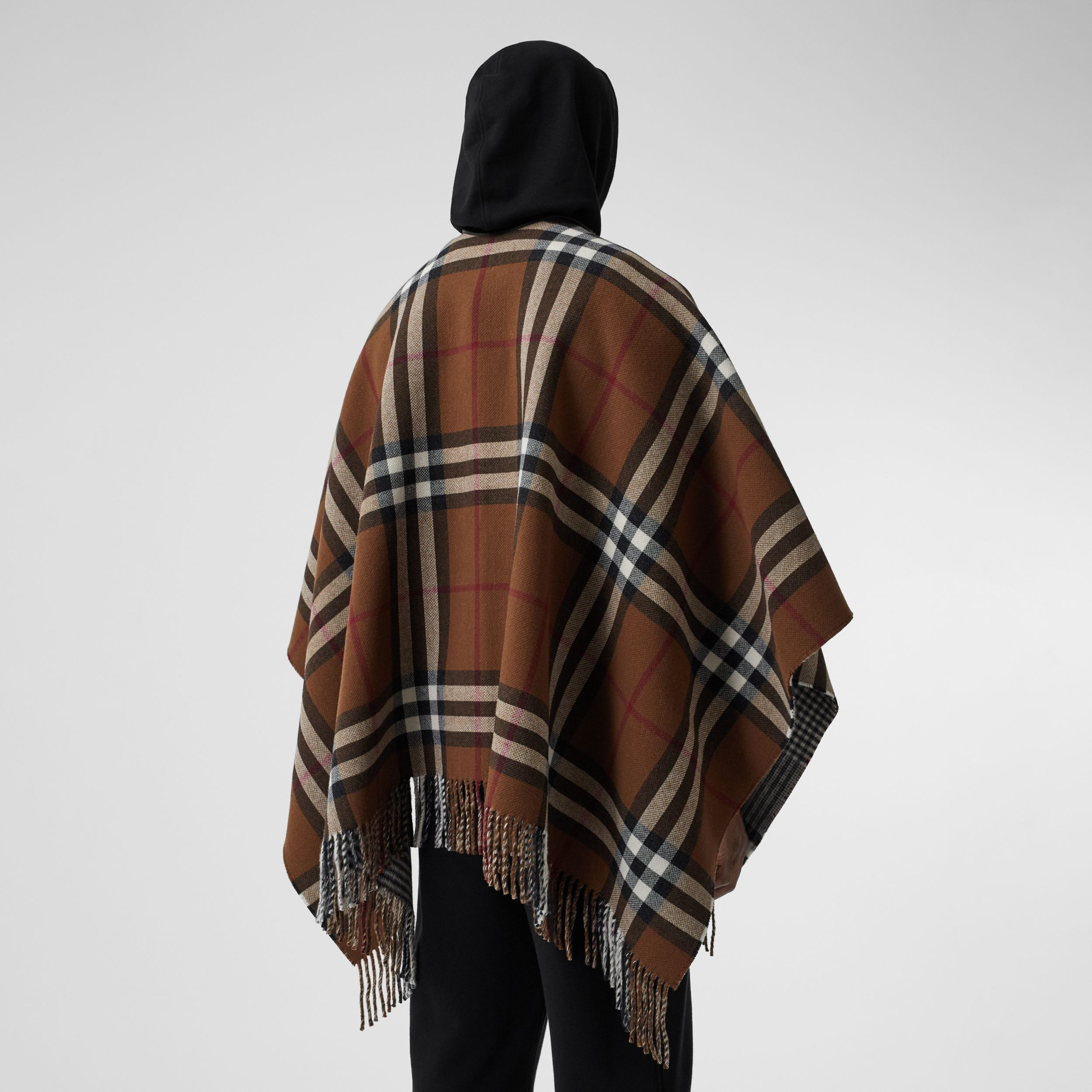 Reversible Lambskin Trim Check Wool Cape in Birch Brown | Burberry - 3