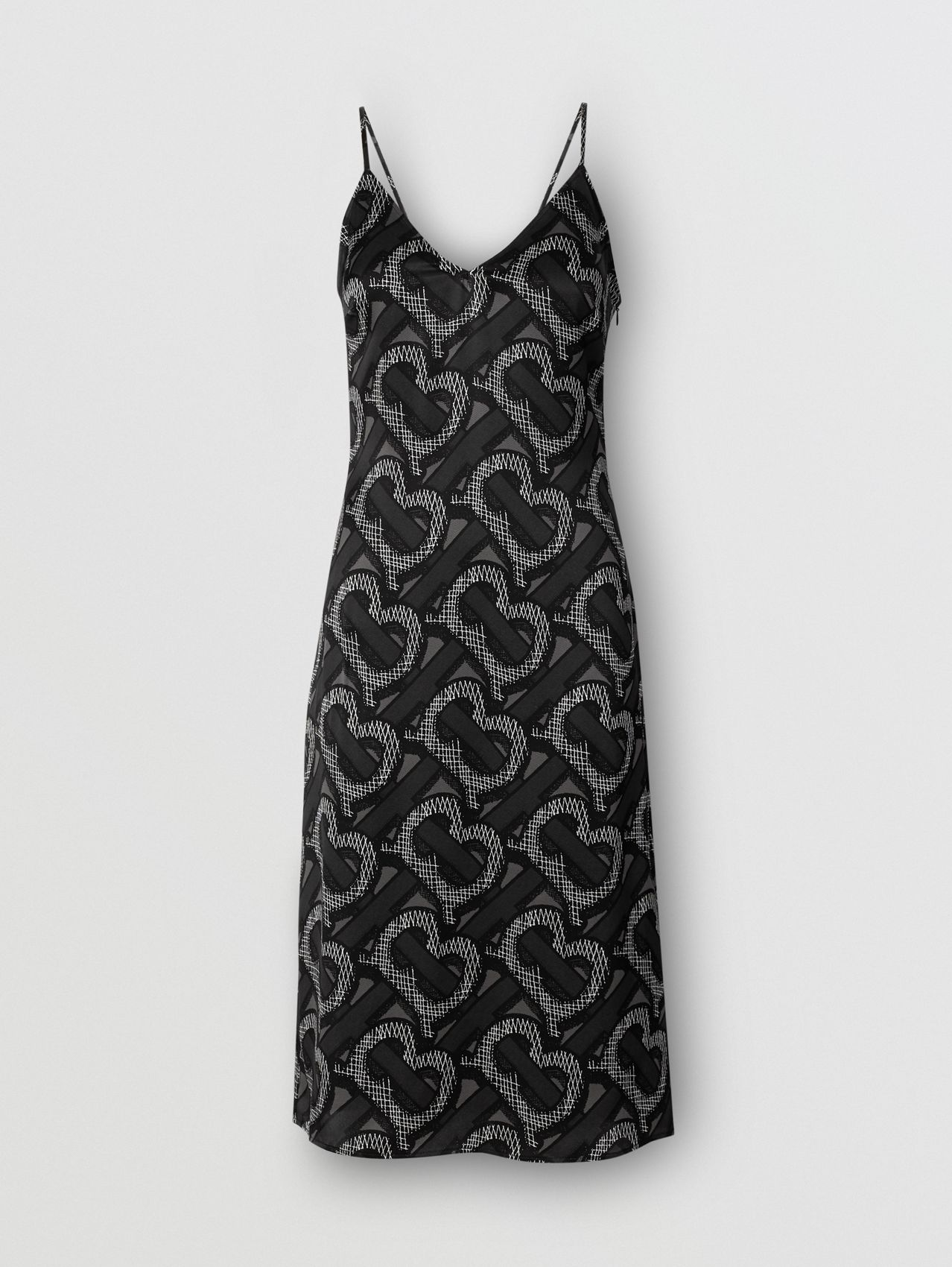 Monogram Print Silk Satin Slip Dress in Graphite
