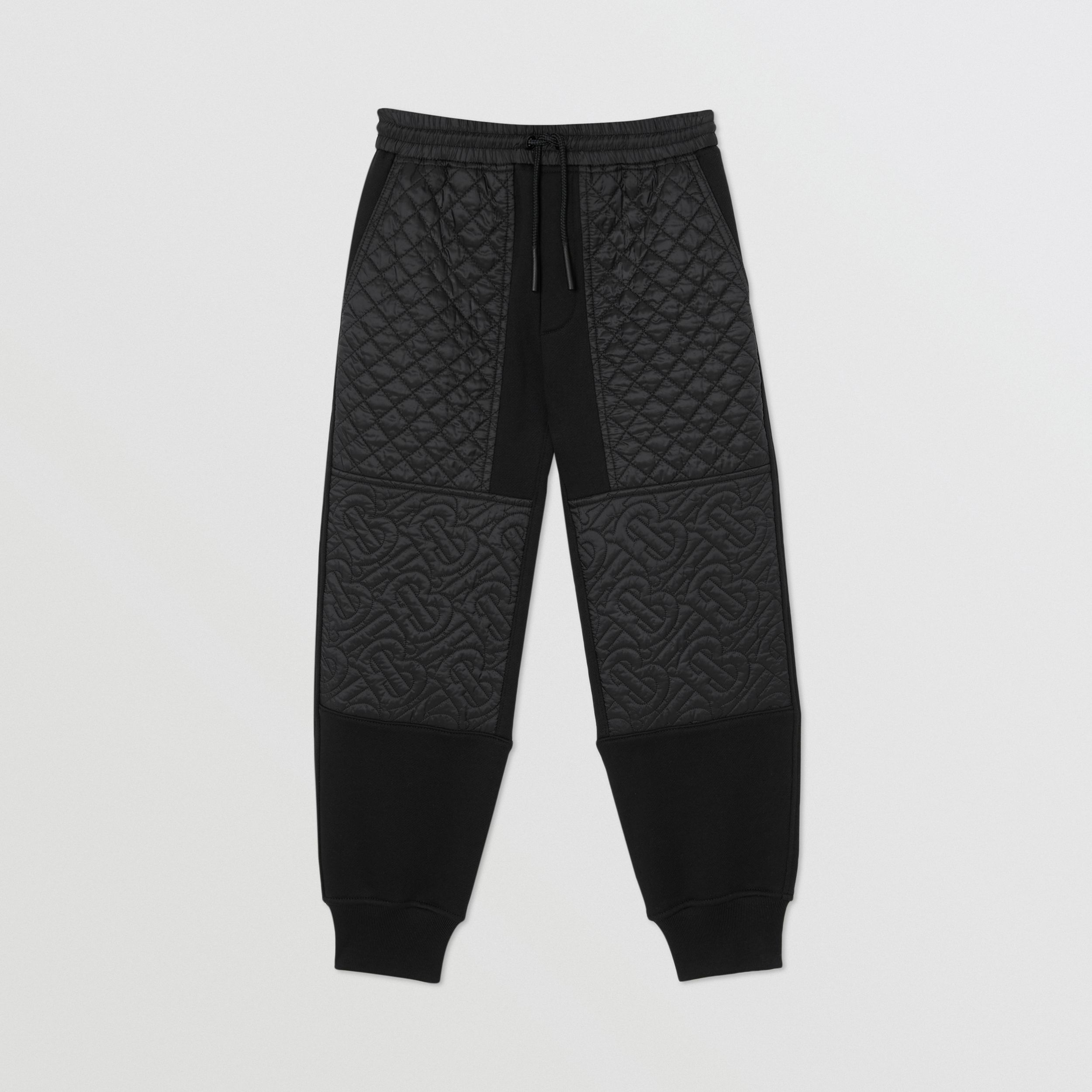 Monogram Quilted Panel Cotton Jogging Pants in Black | Burberry United States - 1