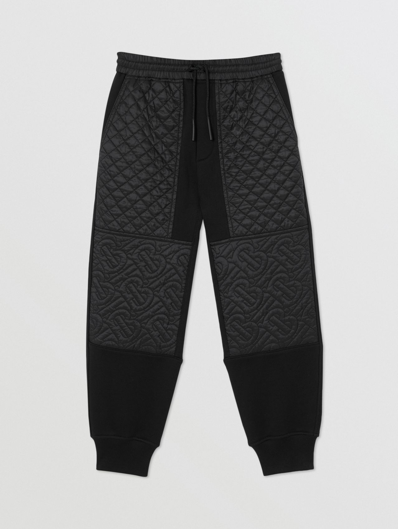 Monogram Quilted Panel Cotton Jogging Pants in Black