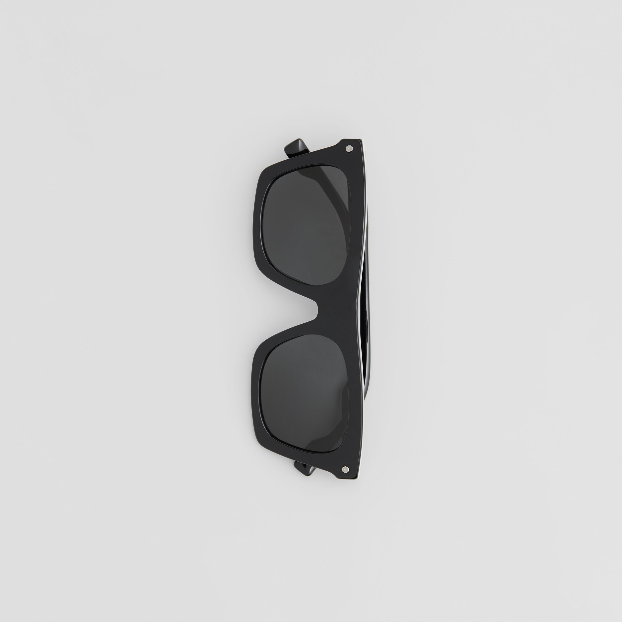 Icon Stripe Detail Rectangular Frame Sunglasses in Black - Men | Burberry - 4