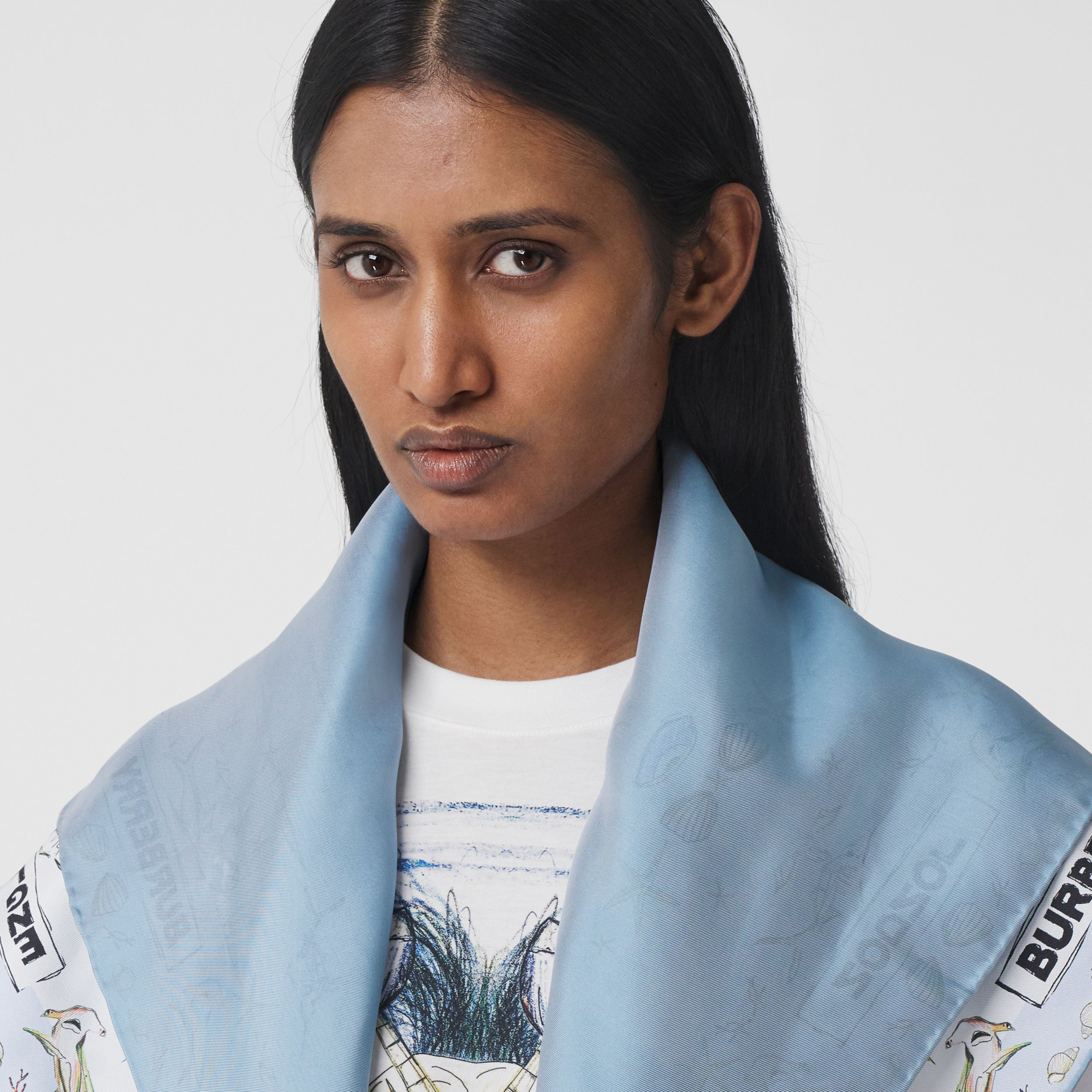 Marine Sketch Print Silk Square Scarf in White | Burberry - 3