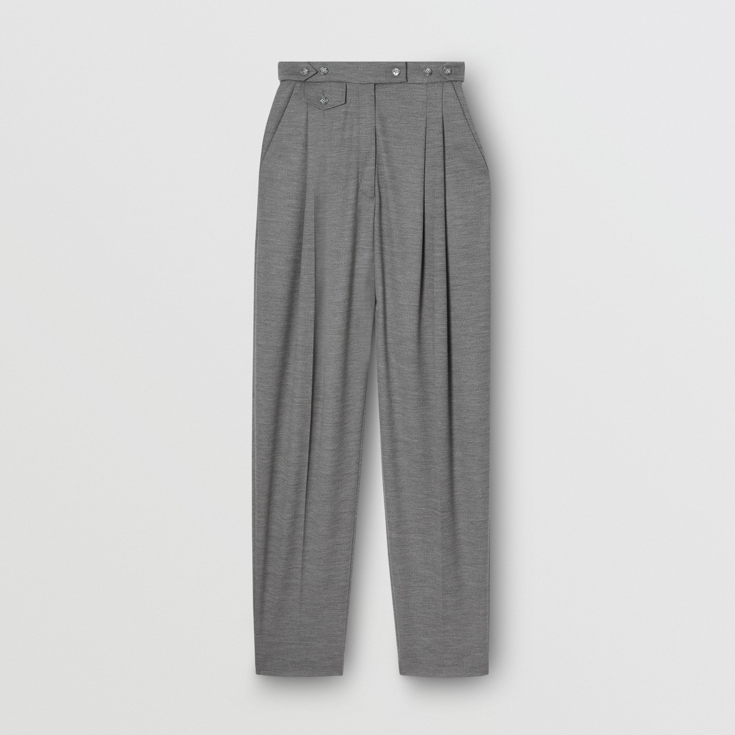 Cut-out Detail Wool Jersey Tailored Trousers in Cloud Grey - Women | Burberry - 1