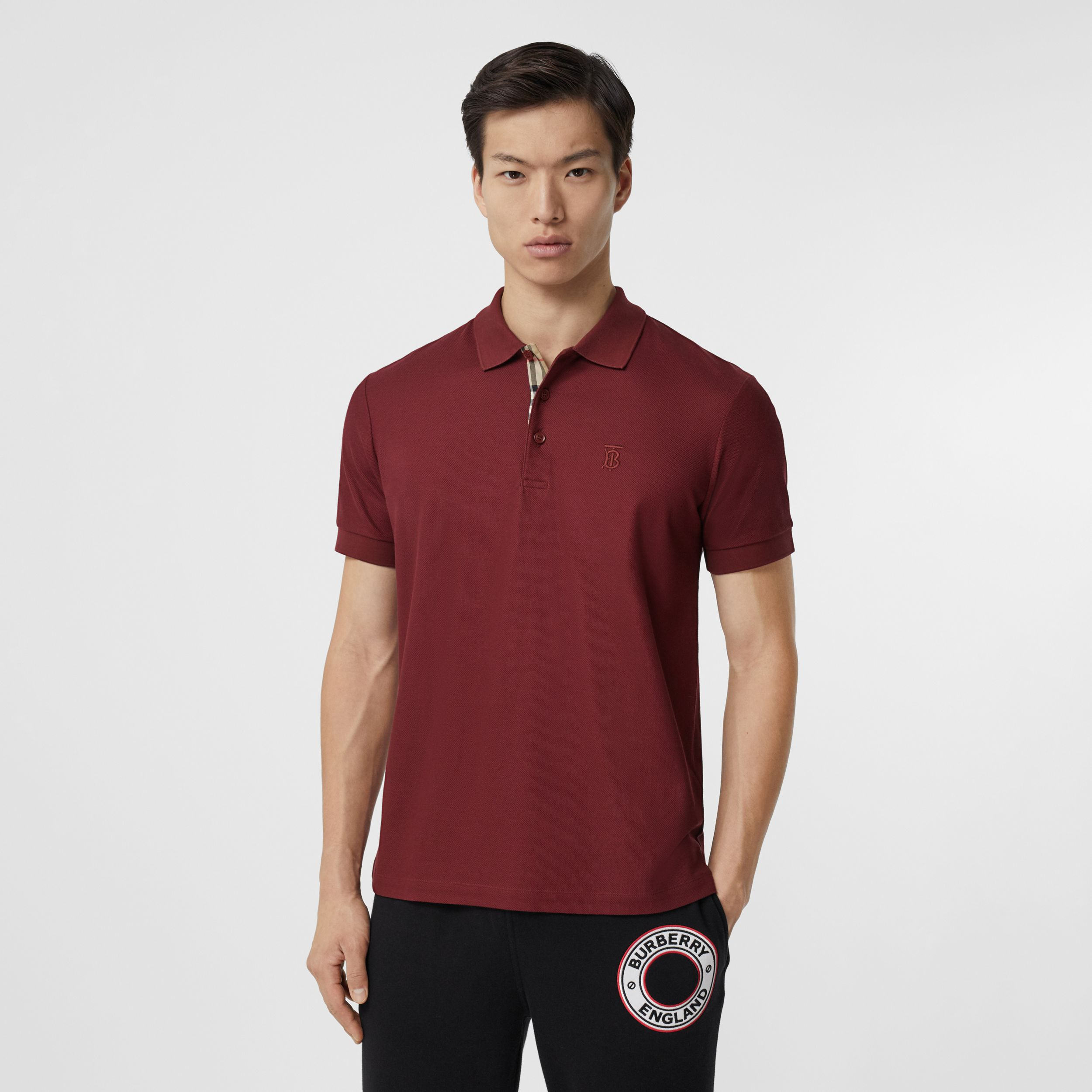 Monogram Motif Cotton Piqué Polo Shirt in Garnet - Men | Burberry - 1
