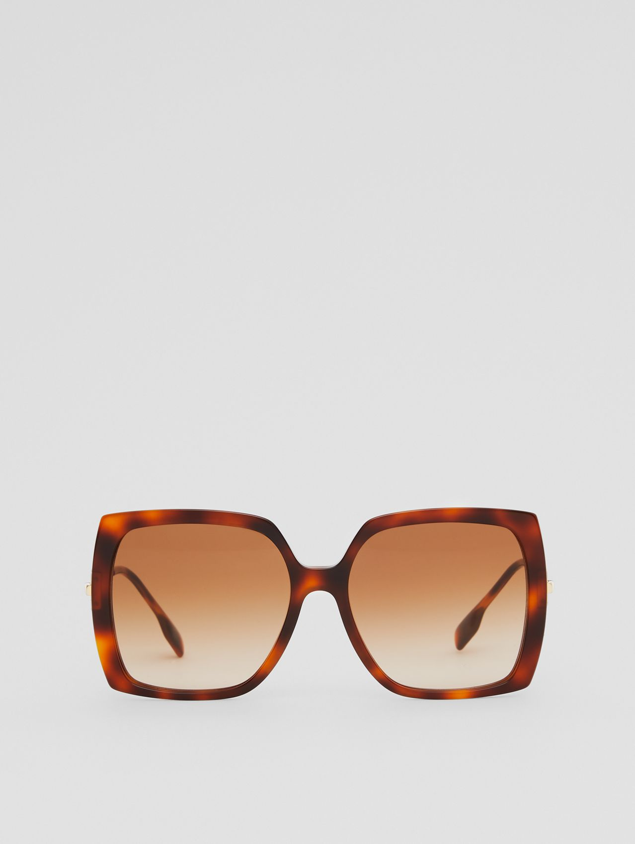 Chain-link Detail Oversized Square Frame Sunglasses in Dark Tortoiseshell Amber