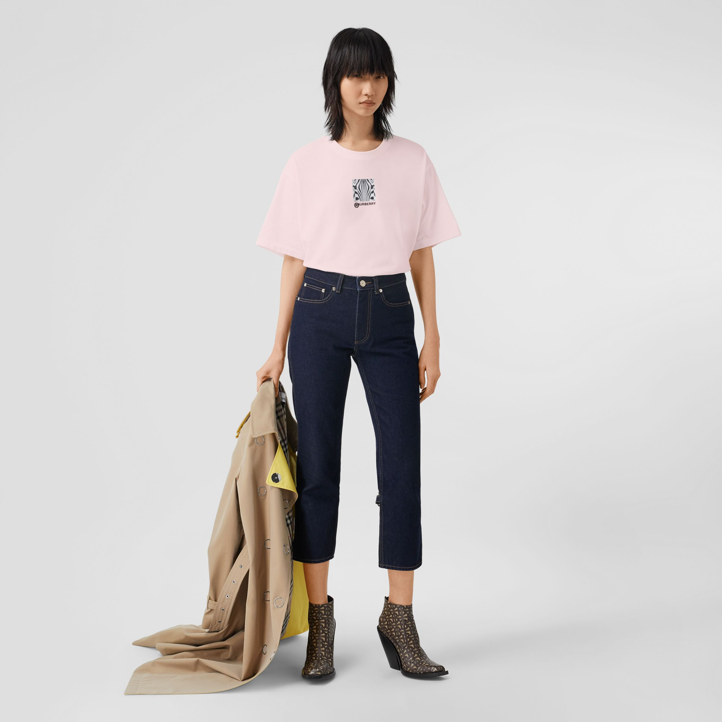 Montage Print Cotton Oversized T-shirt in Alabaster Pink - Women | Burberry Canada - 1