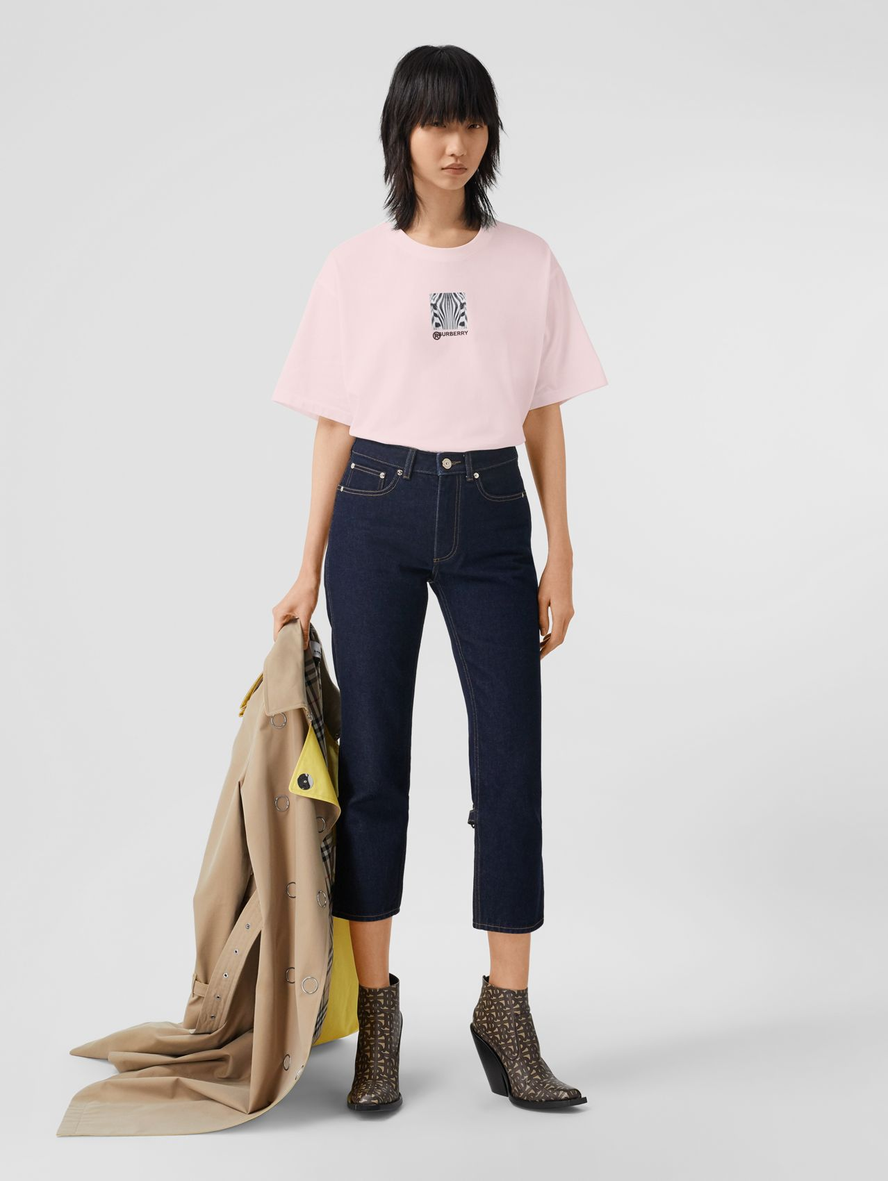 Montage Print Cotton Oversized T-shirt (Alabaster Pink)