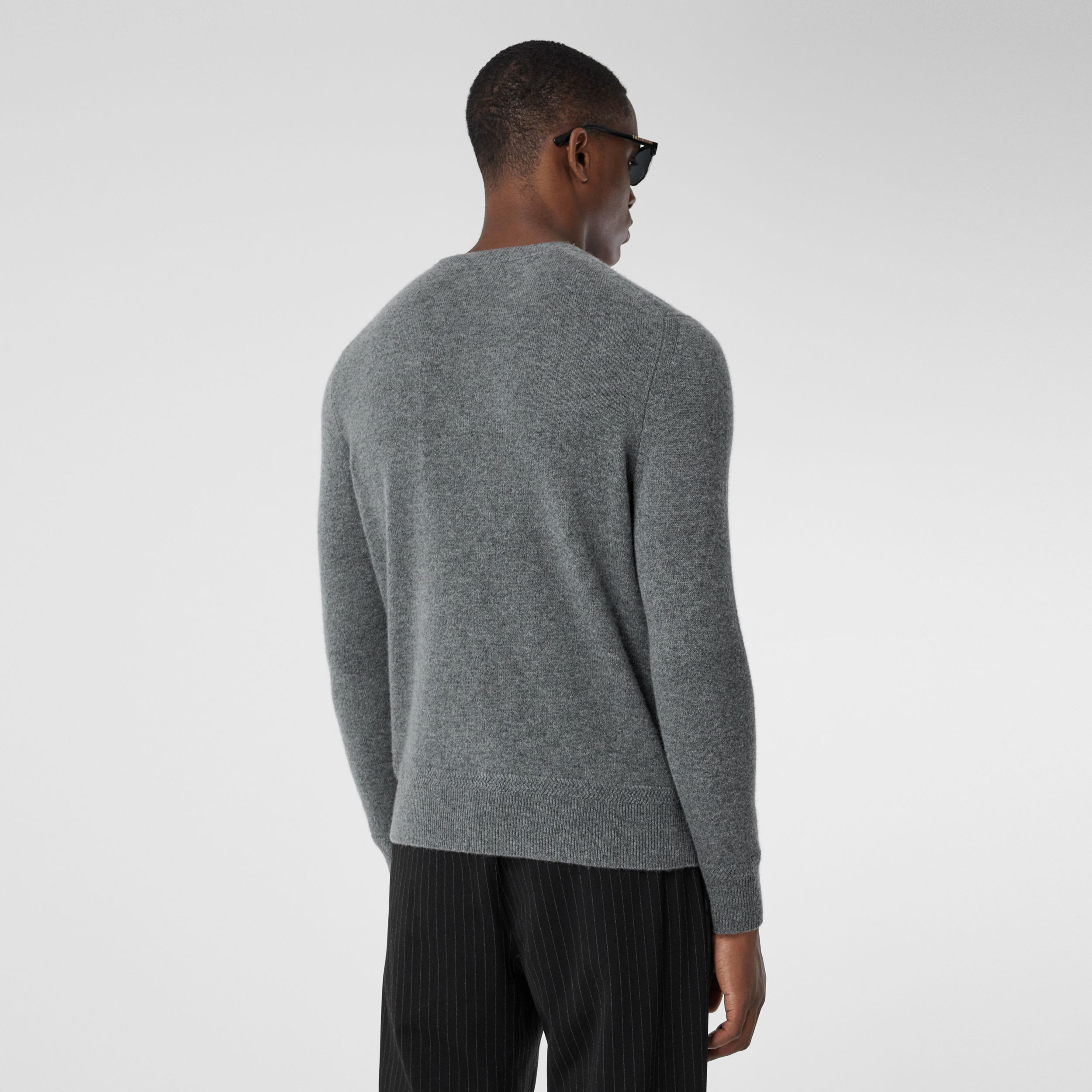 Monogram Motif Cashmere Sweater in Mid Grey Melange - Men | Burberry - 3