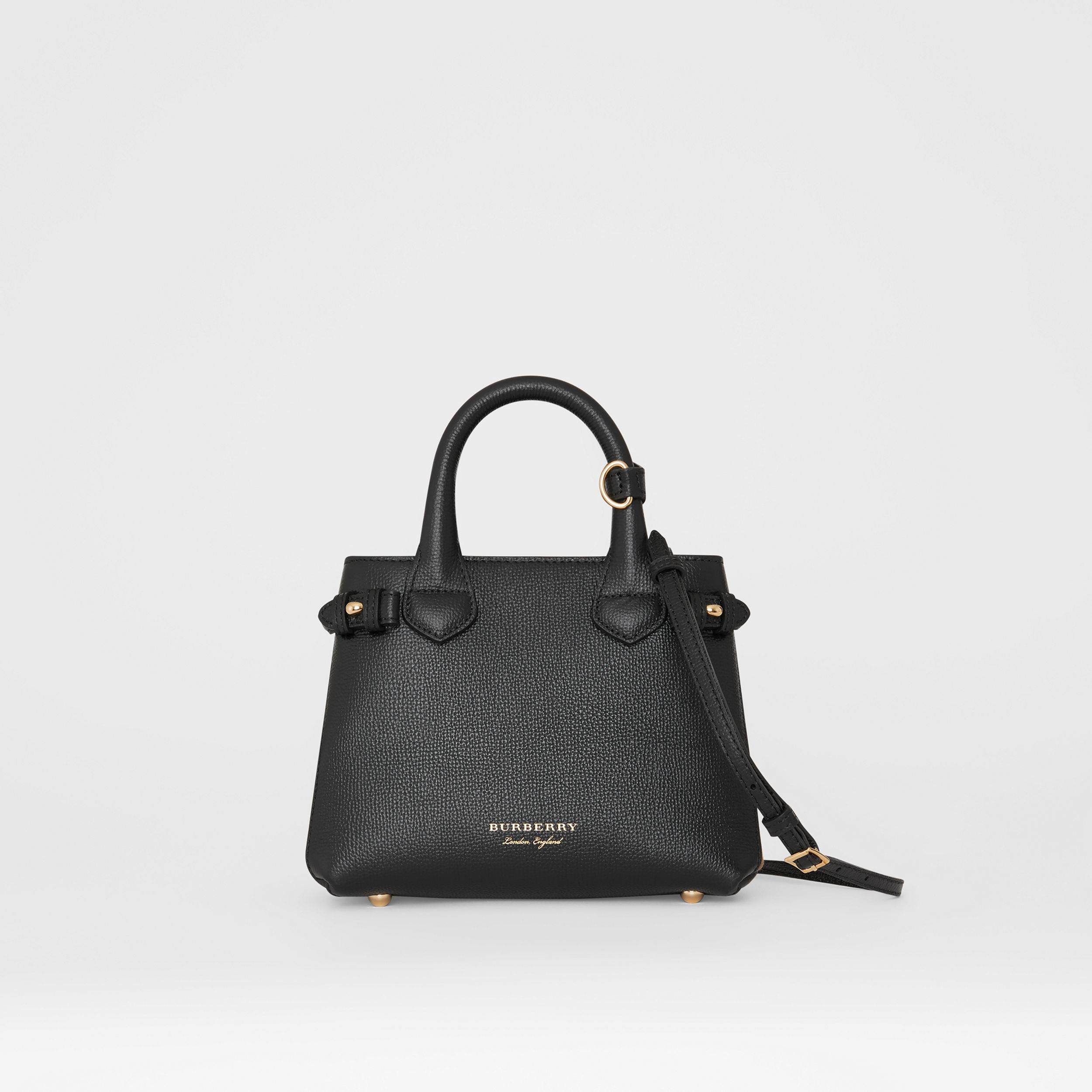 The Baby Banner in Leather and House Check in Black - Women | Burberry - 1