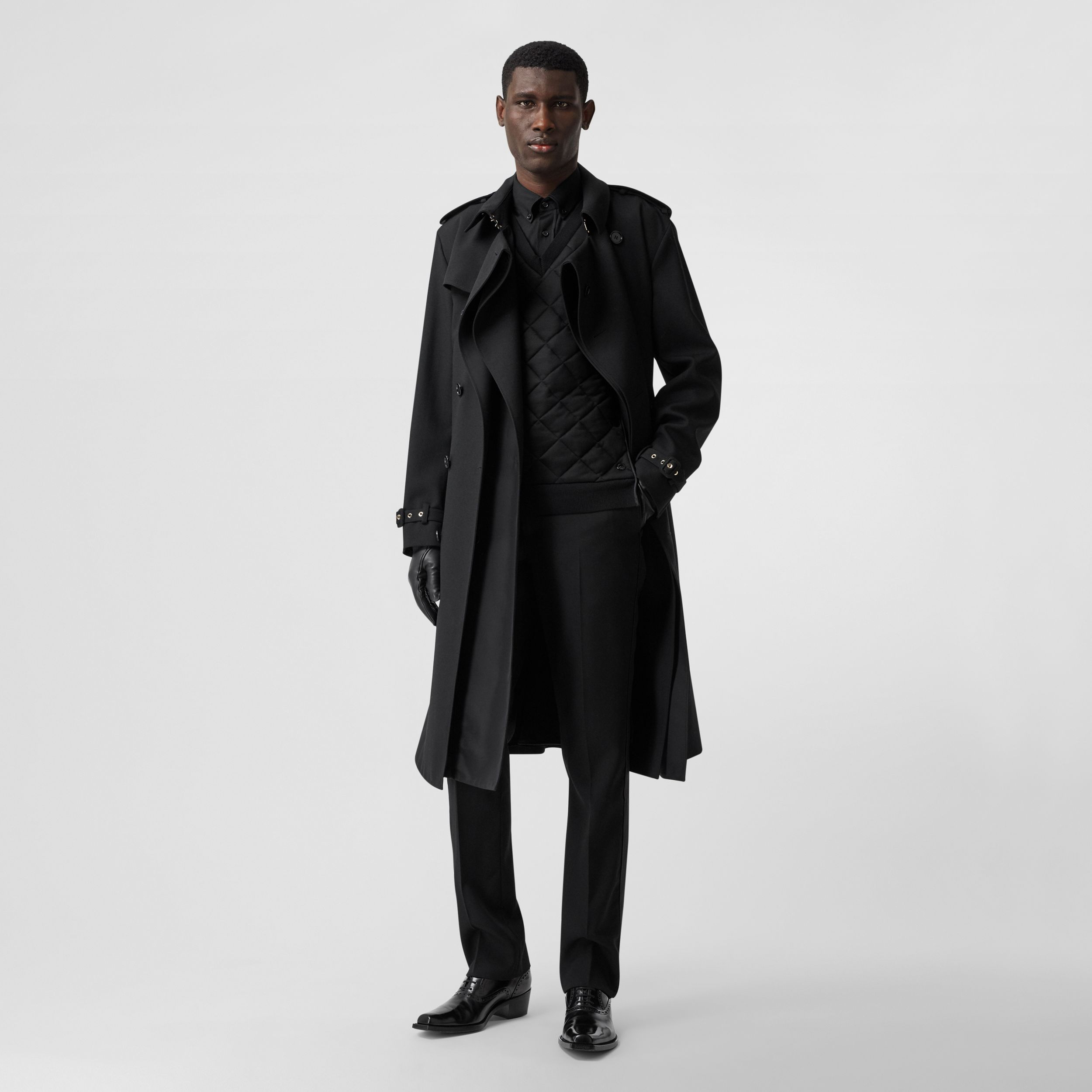 Wool Twill Loop-back Trench Coat in Black | Burberry - 1