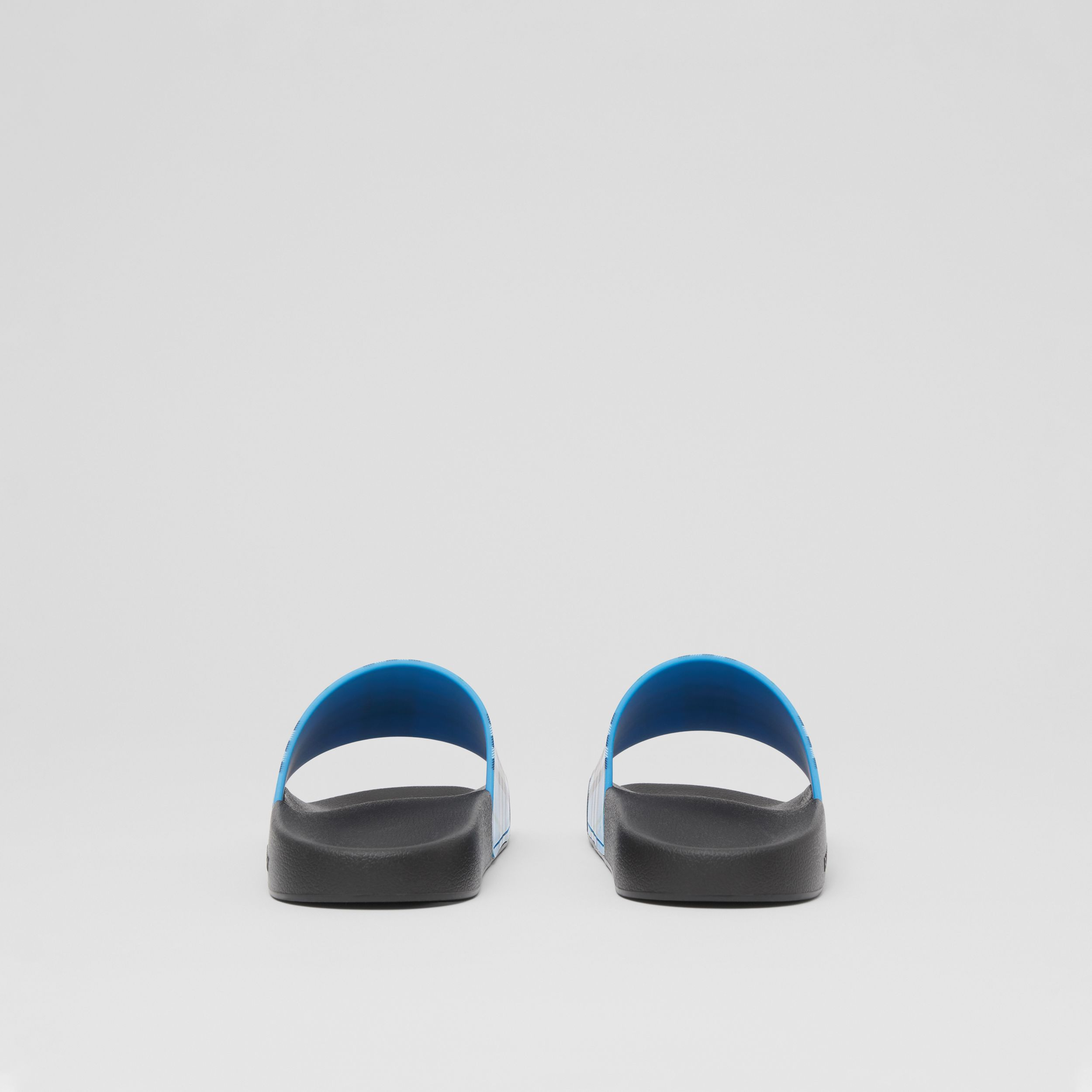 Check Print Slides in Blue Azure - Women | Burberry - 4