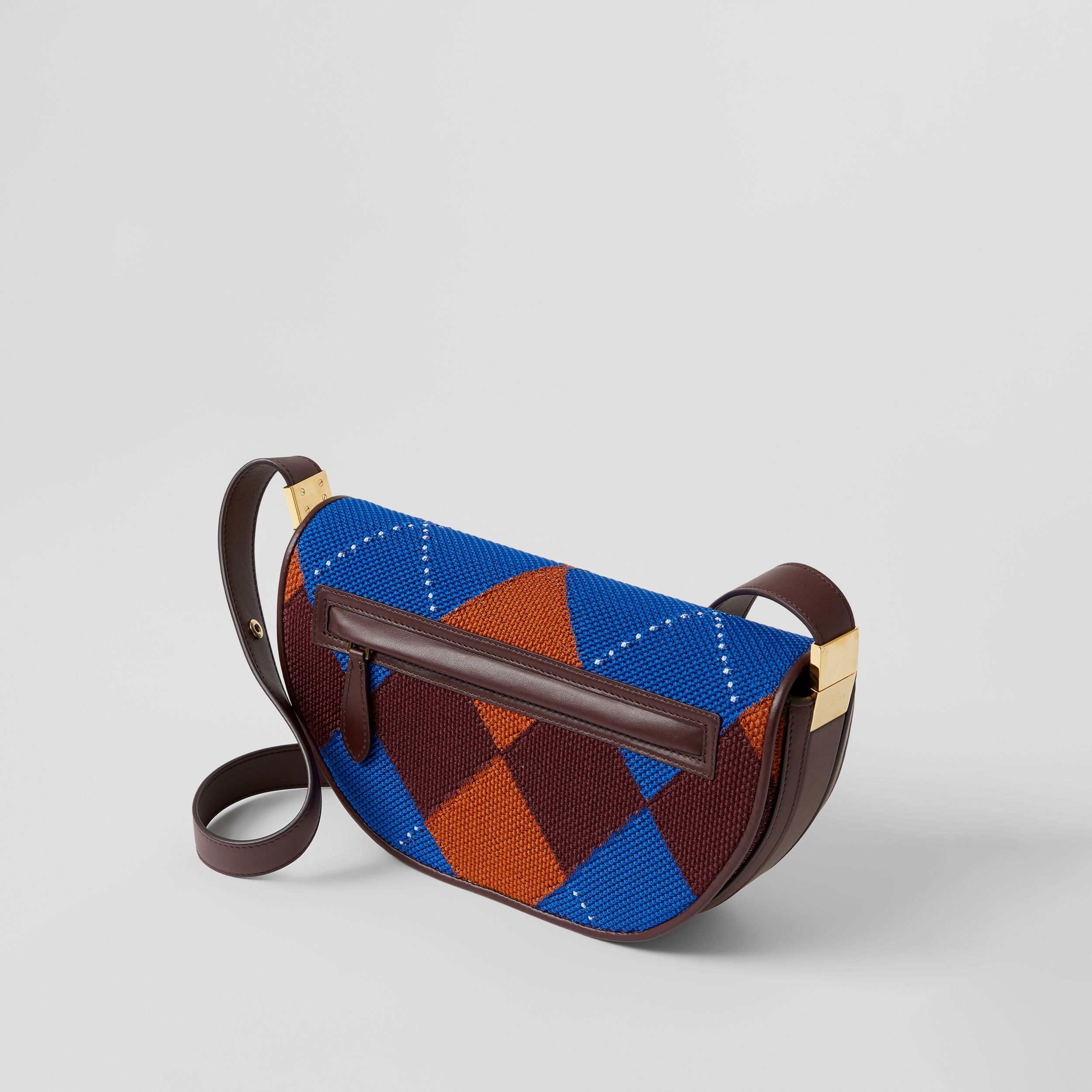 Small Argyle Knit and Leather Olympia Bag in Bright Blue - Women | Burberry - 4