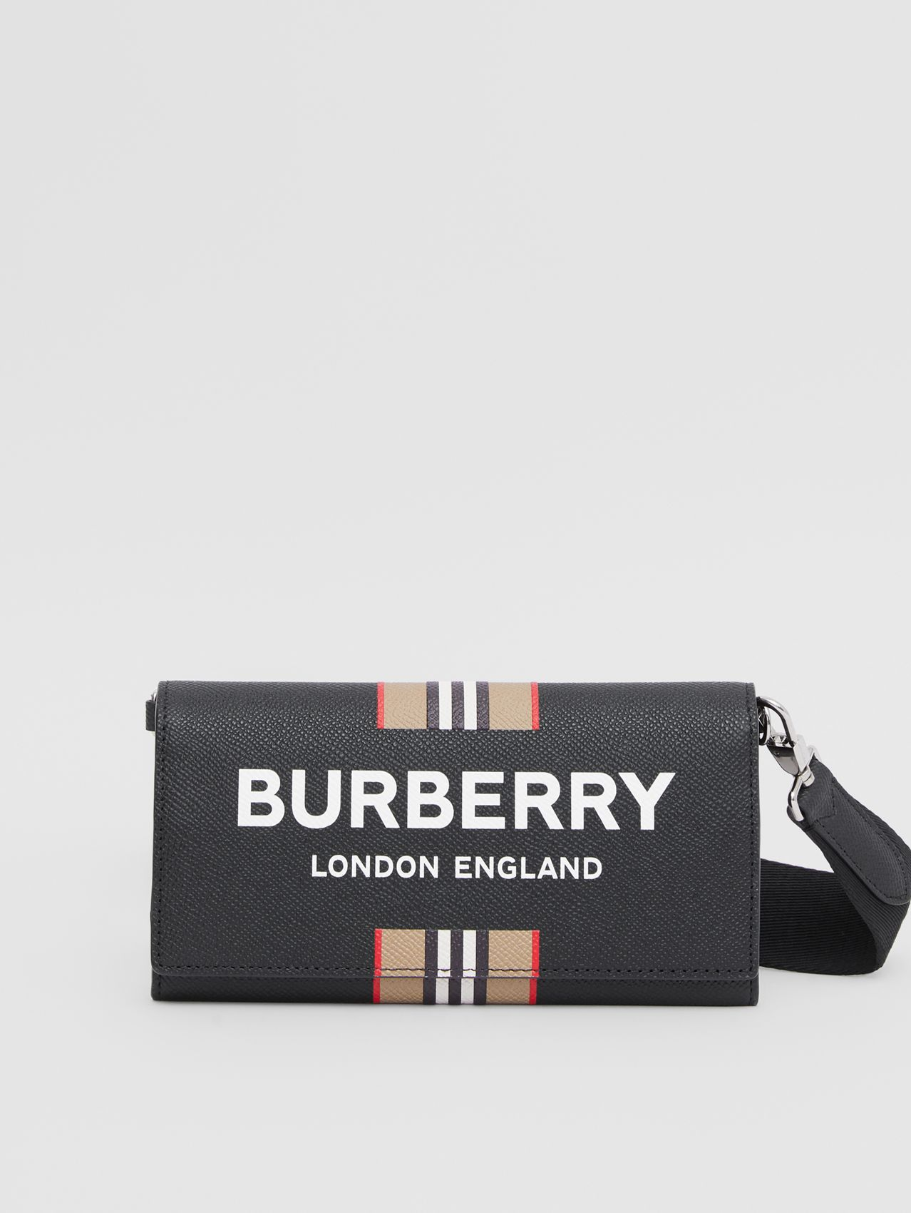 Logo Print Leather Wallet with Detachable Strap in Black